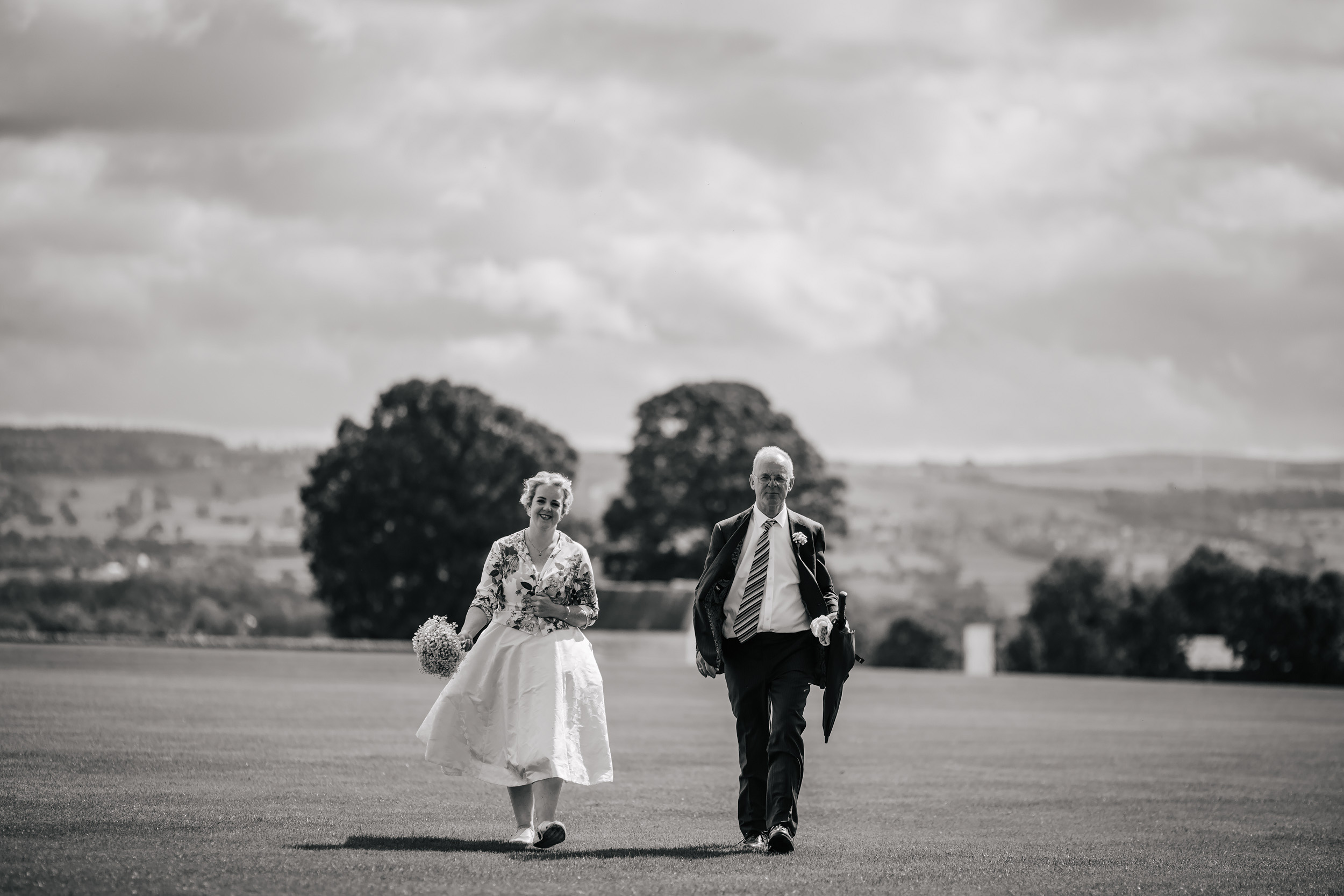 Bride and her father at a wedding in Lancashire