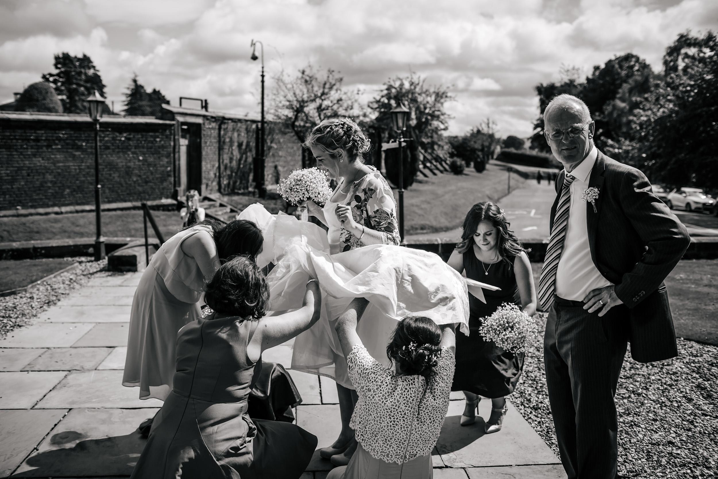 Bride and bridesmaids at Stonyhurst College wedding