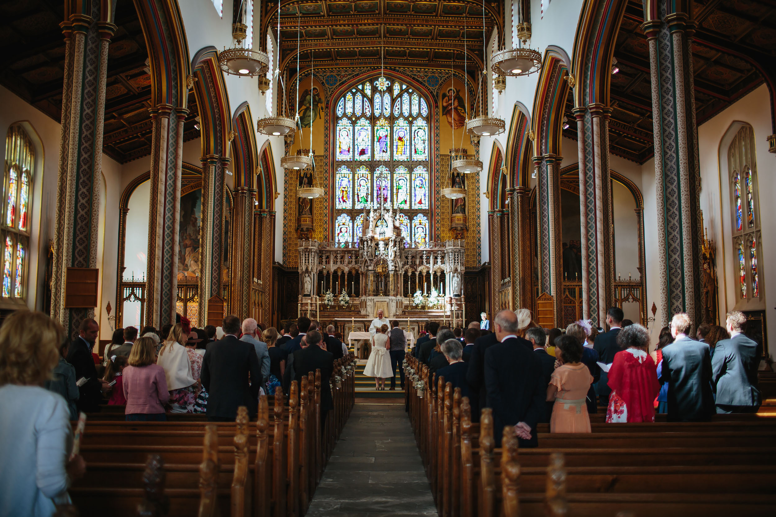 Church wedding ceremony at Stonyhurst College Lancashire