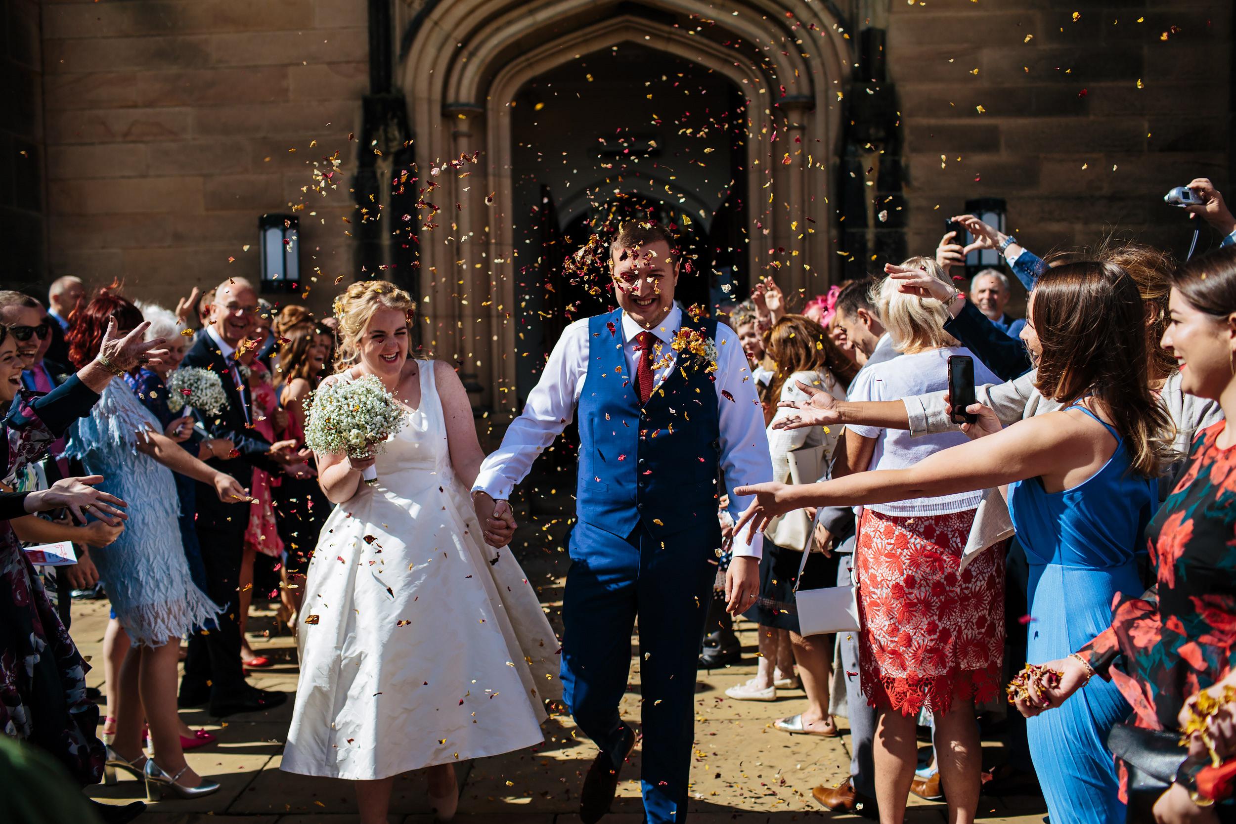 Confetti shot at Stonyhurst College Wedding