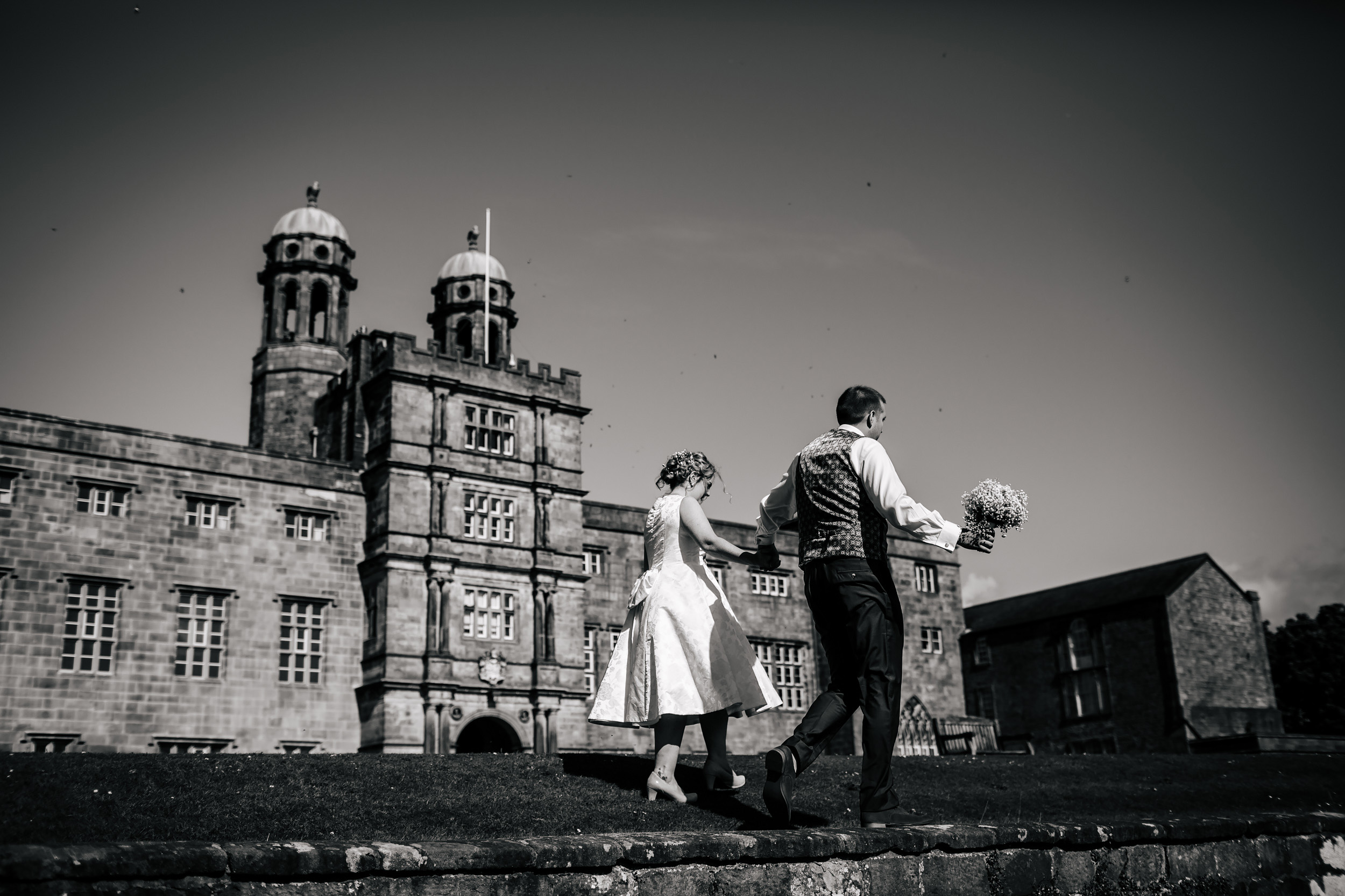 Bride and groom on their wedding day in Lancashire