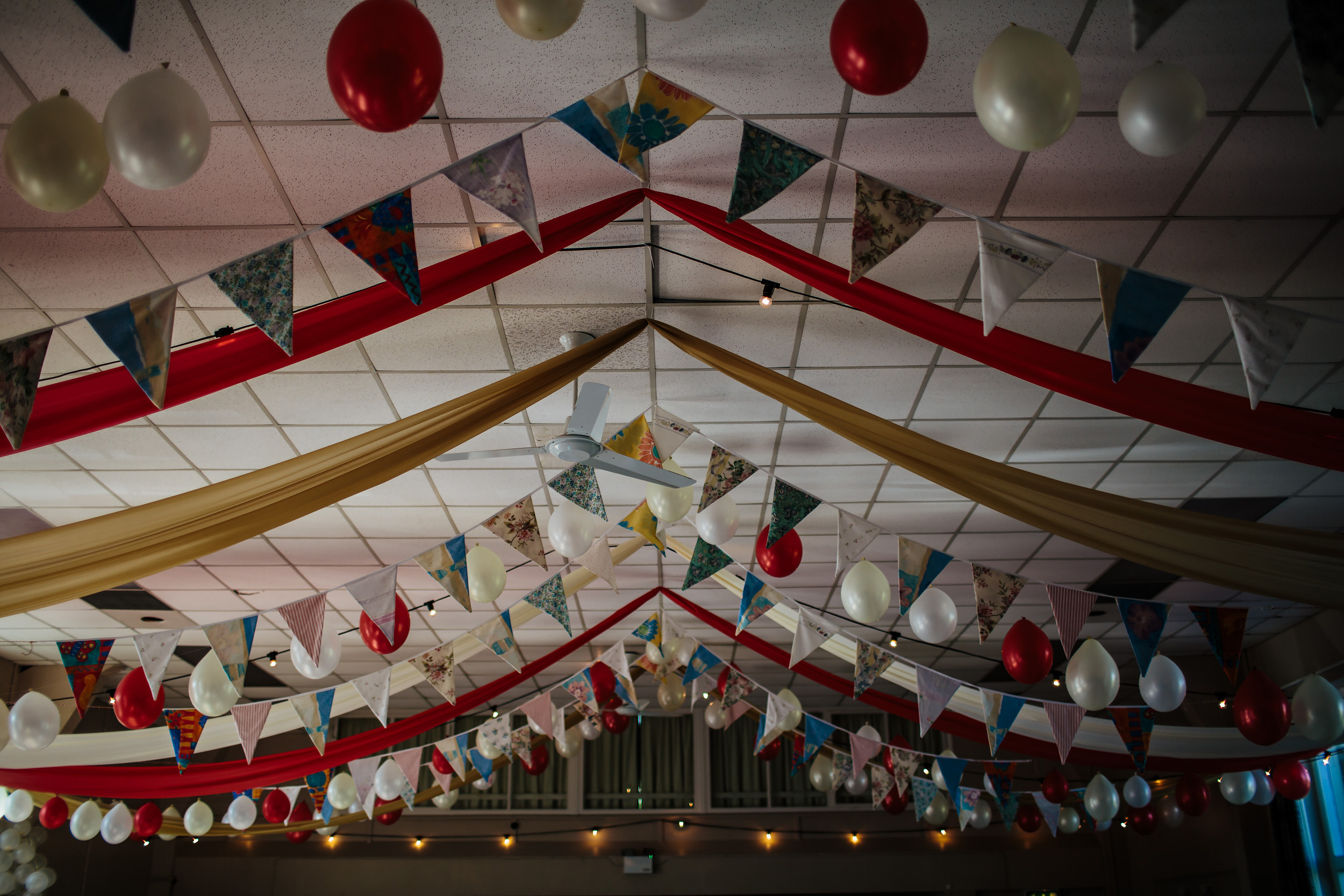 Bunting at a village hall wedding in Lancashire