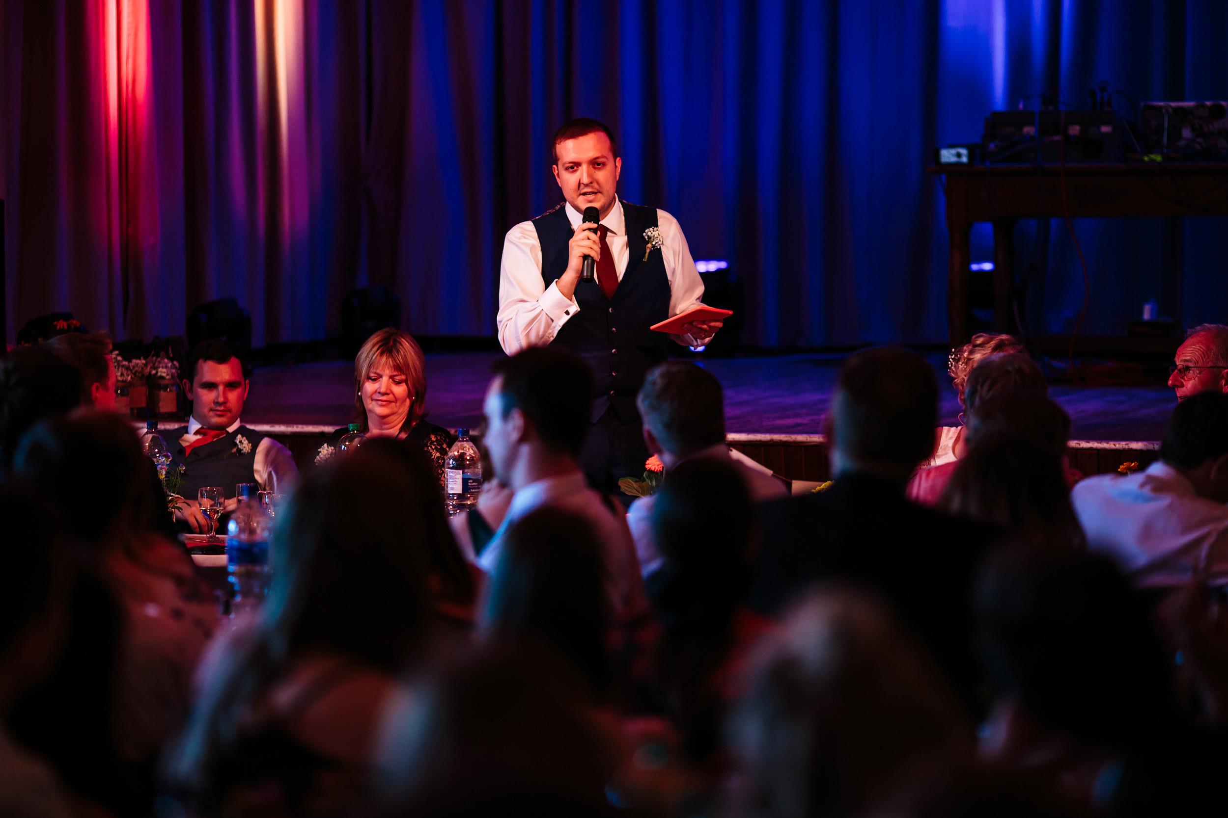 Grooms speech on his wedding day in Lancashire