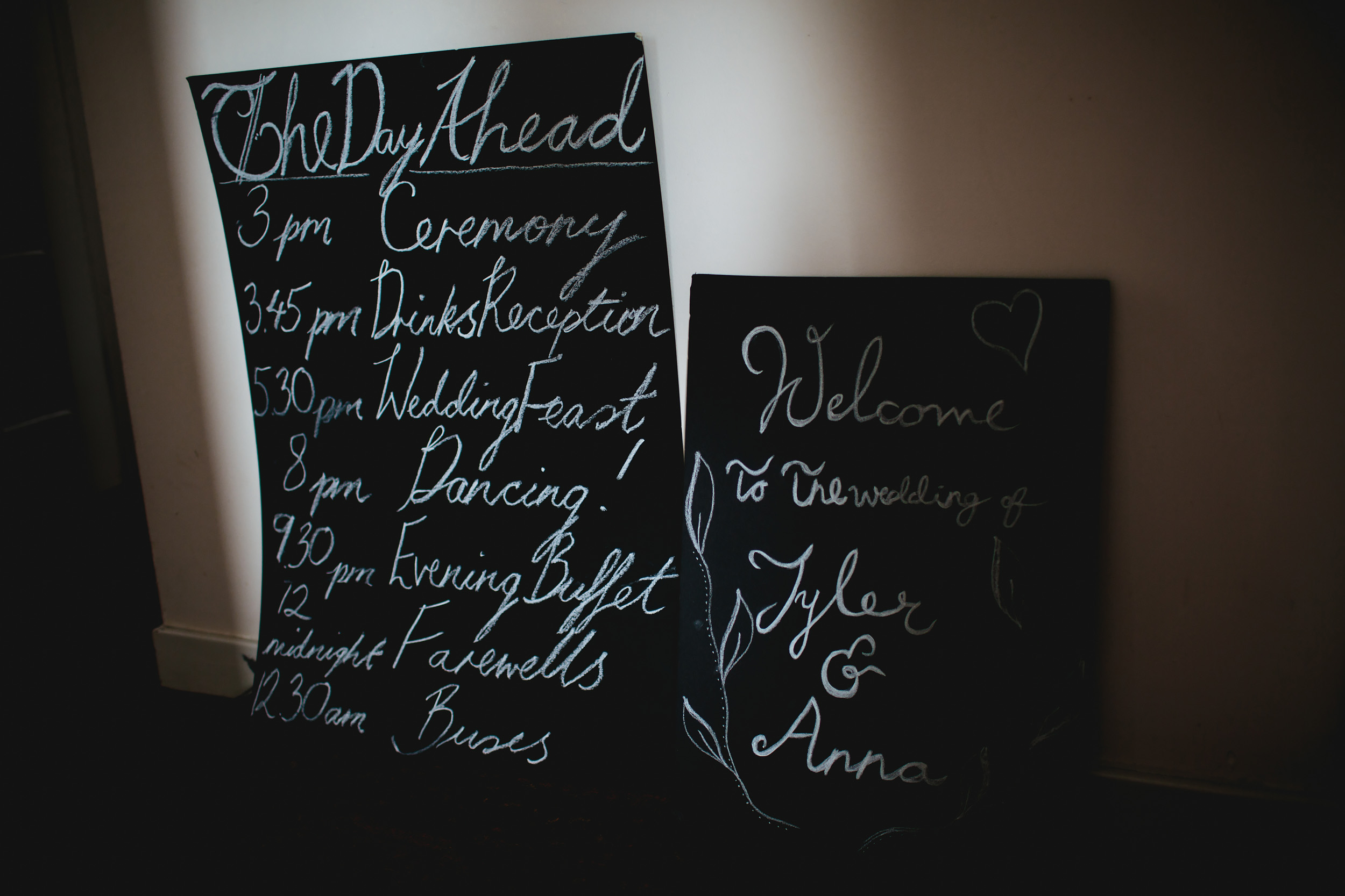 Wedding signs and itineraries at Cow Shed Crail