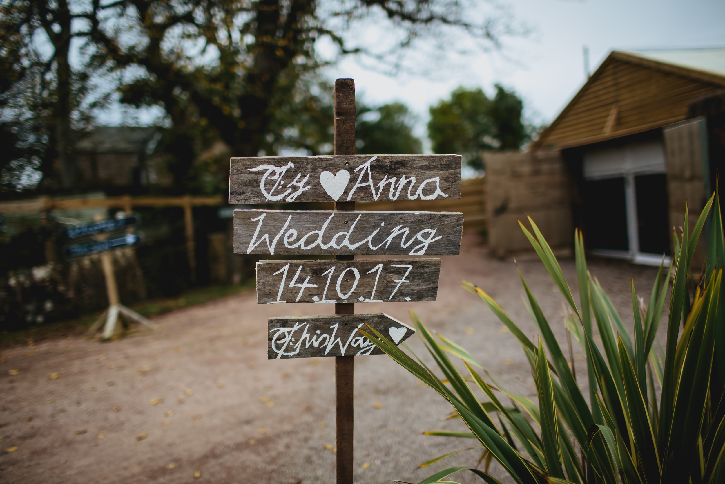 Wedding sign at Cow Shed Crail in Scotland