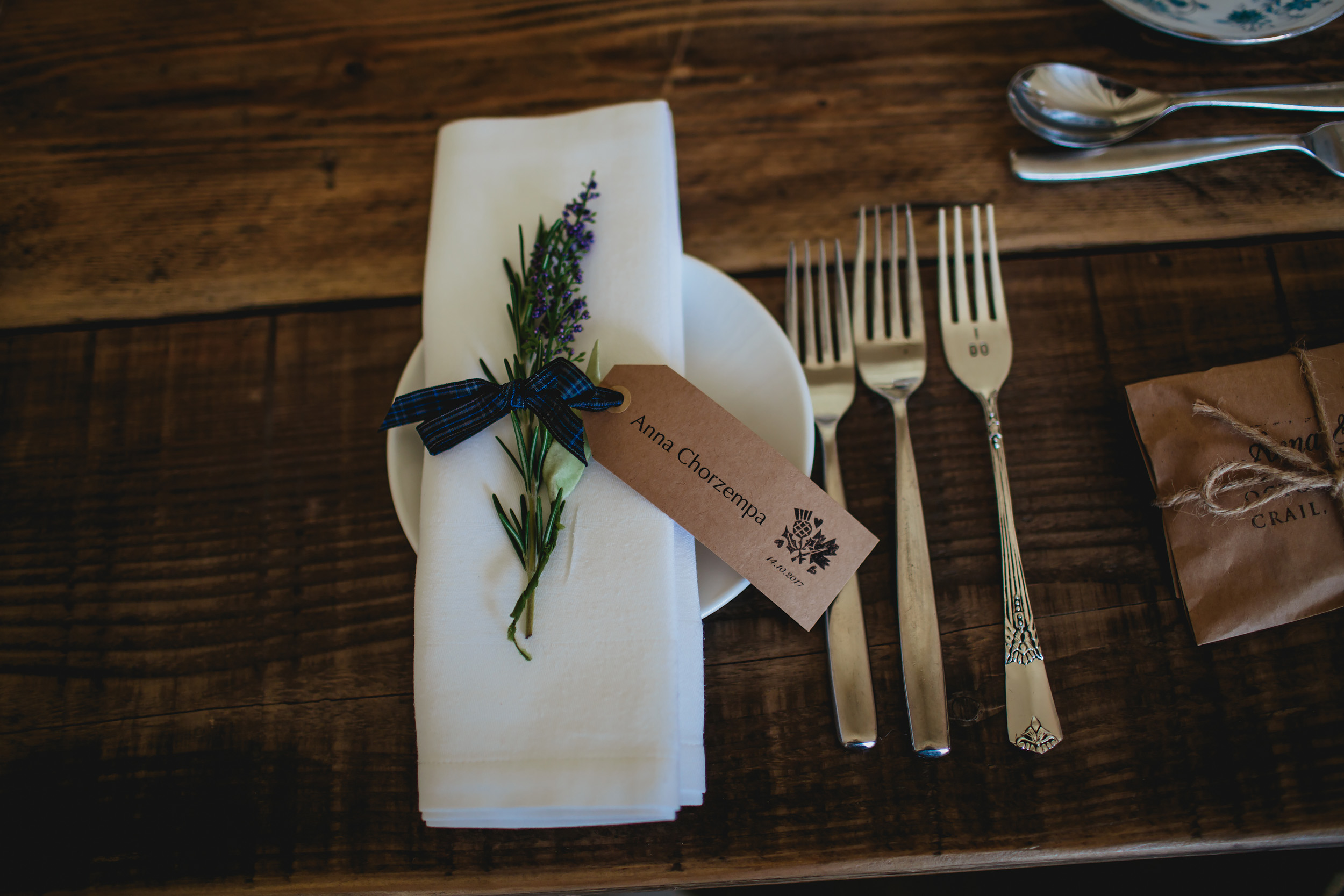 Table decorations with heather at Cow Shed Crail