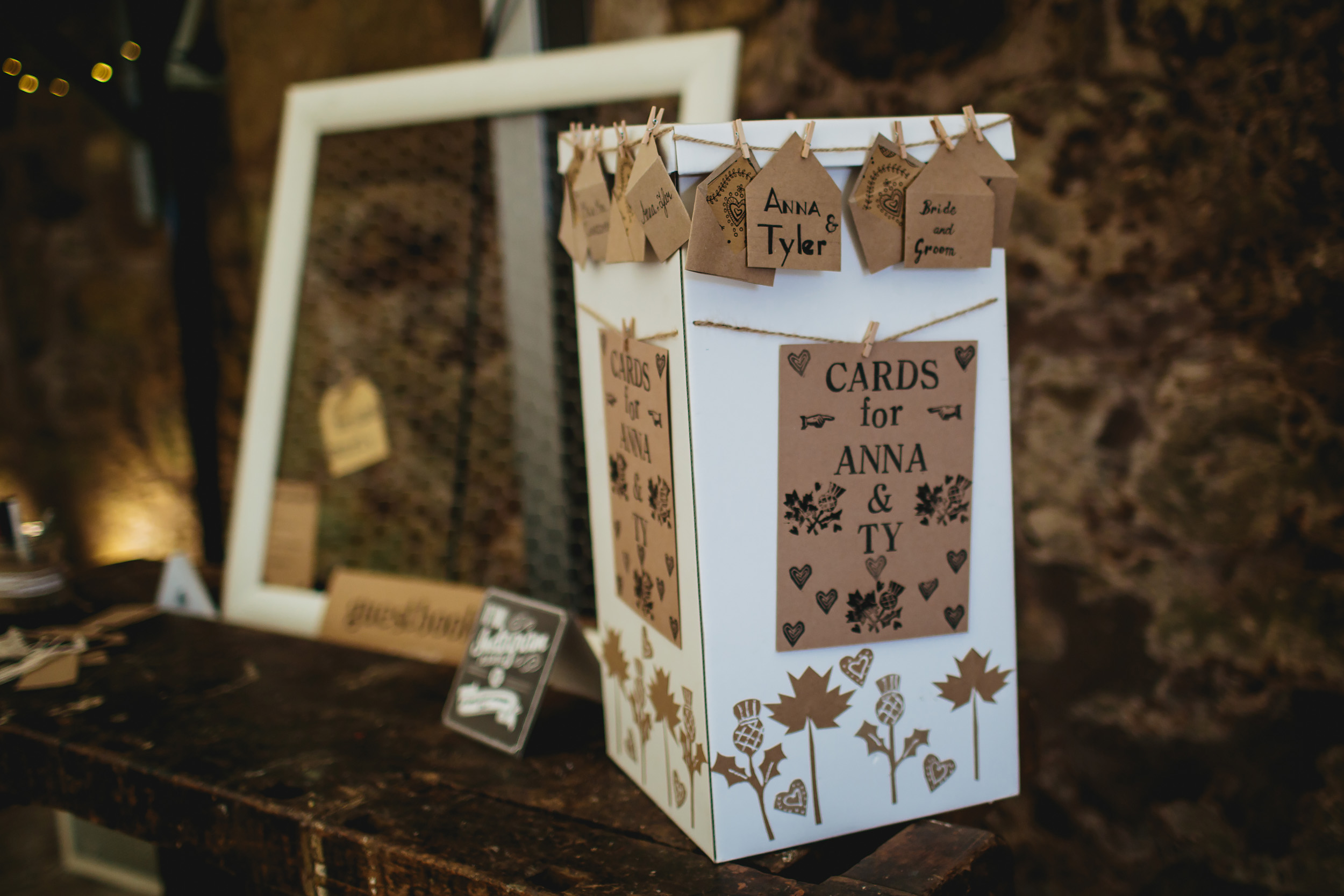 Wedding cards postbox at Cow Shed Crail