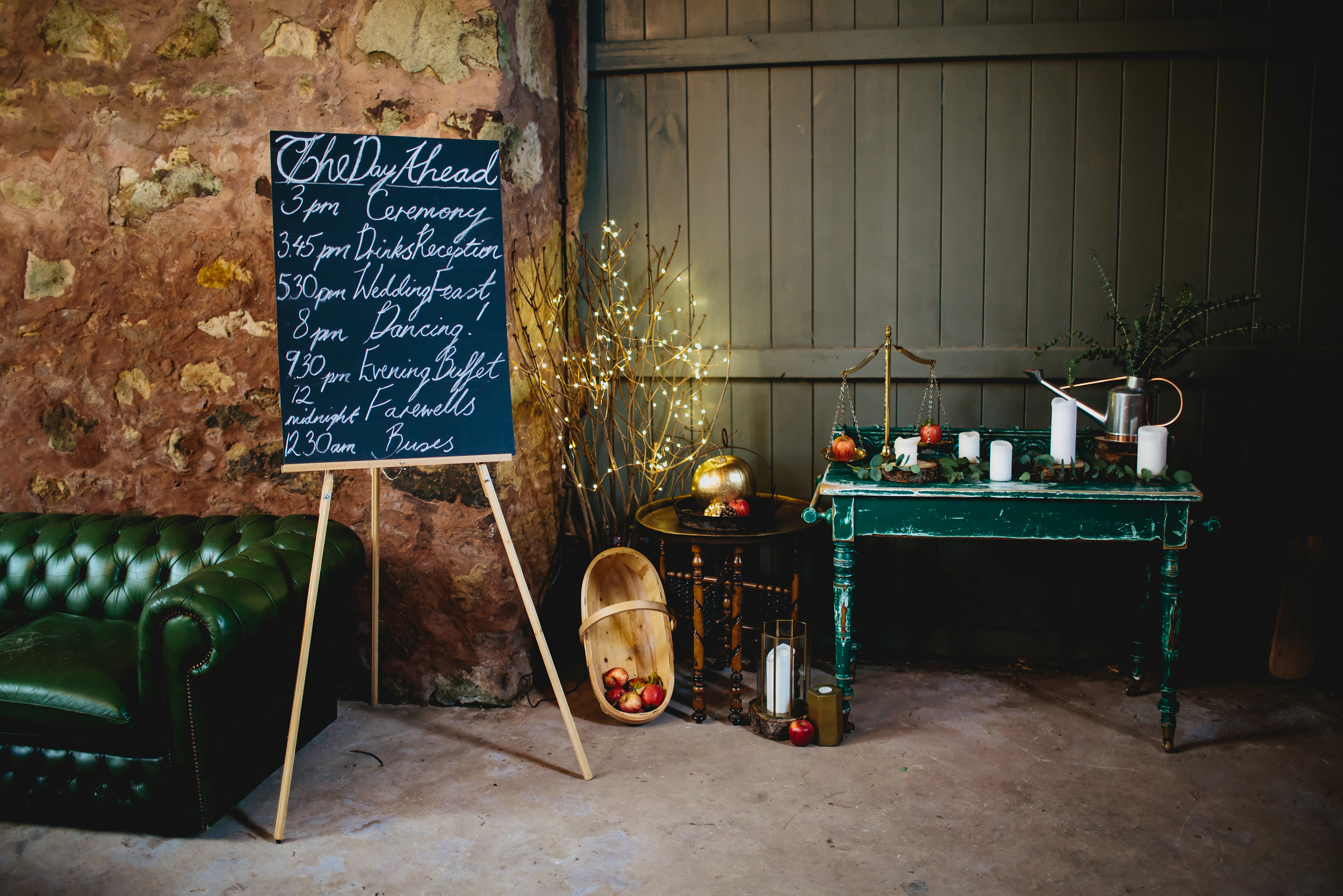 The day ahead sign at Cow Shed Crail wedding