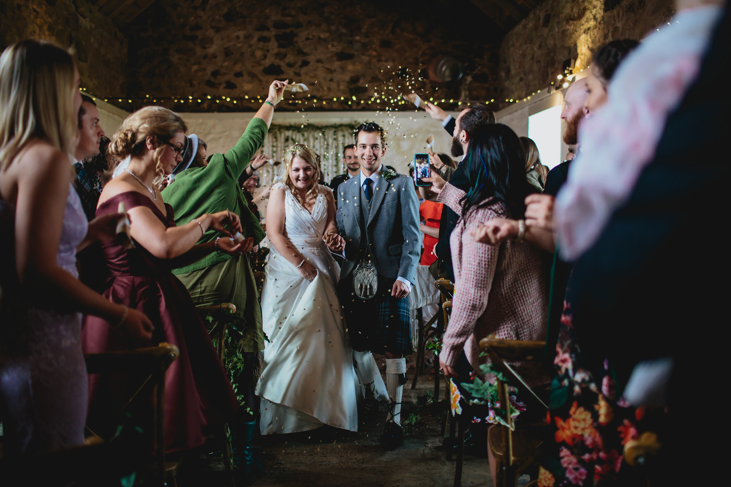 Confetti shot at Cow Shed Crail Scotland Wedding