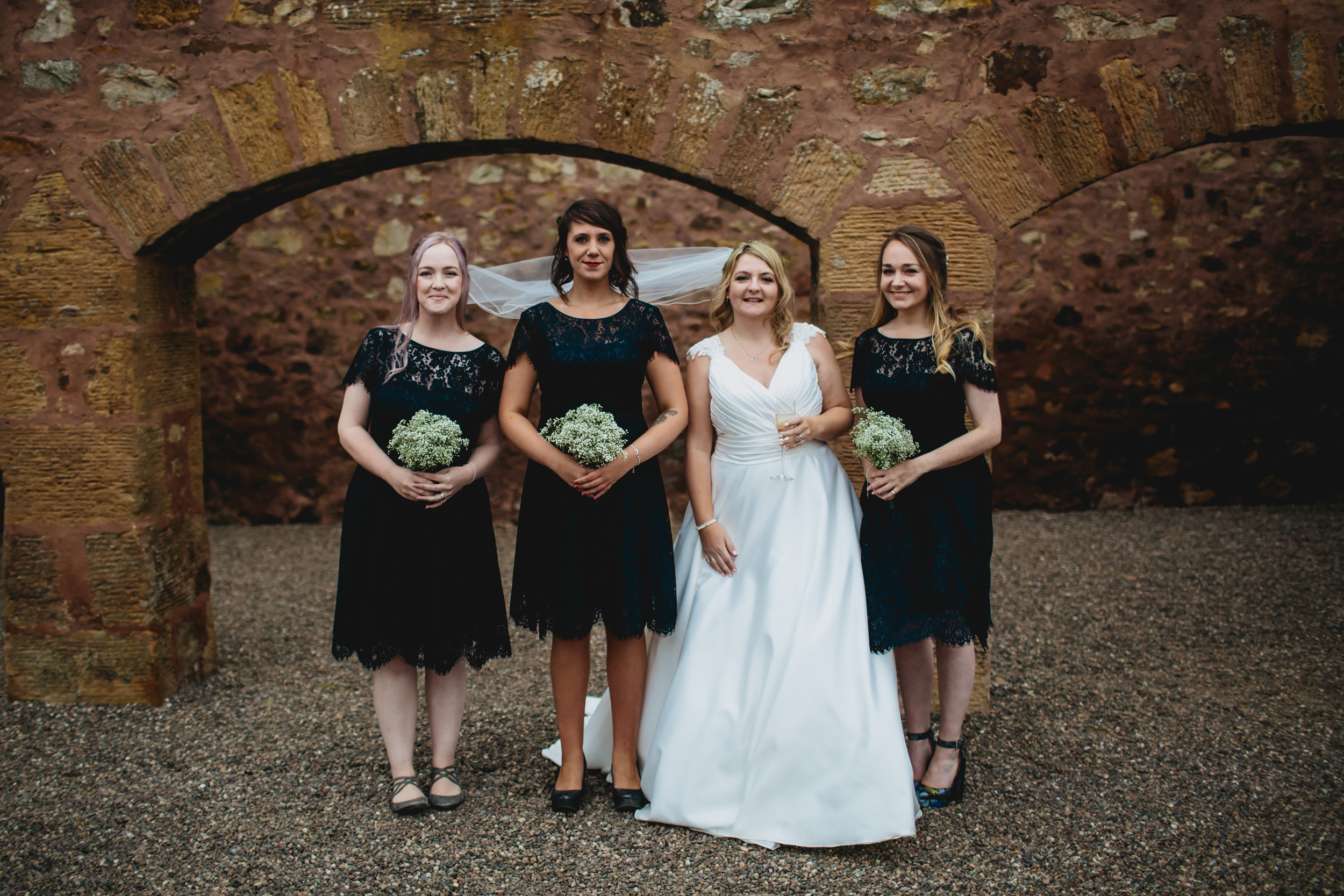 Bride and her bridesmaids at Cow Shed Crail