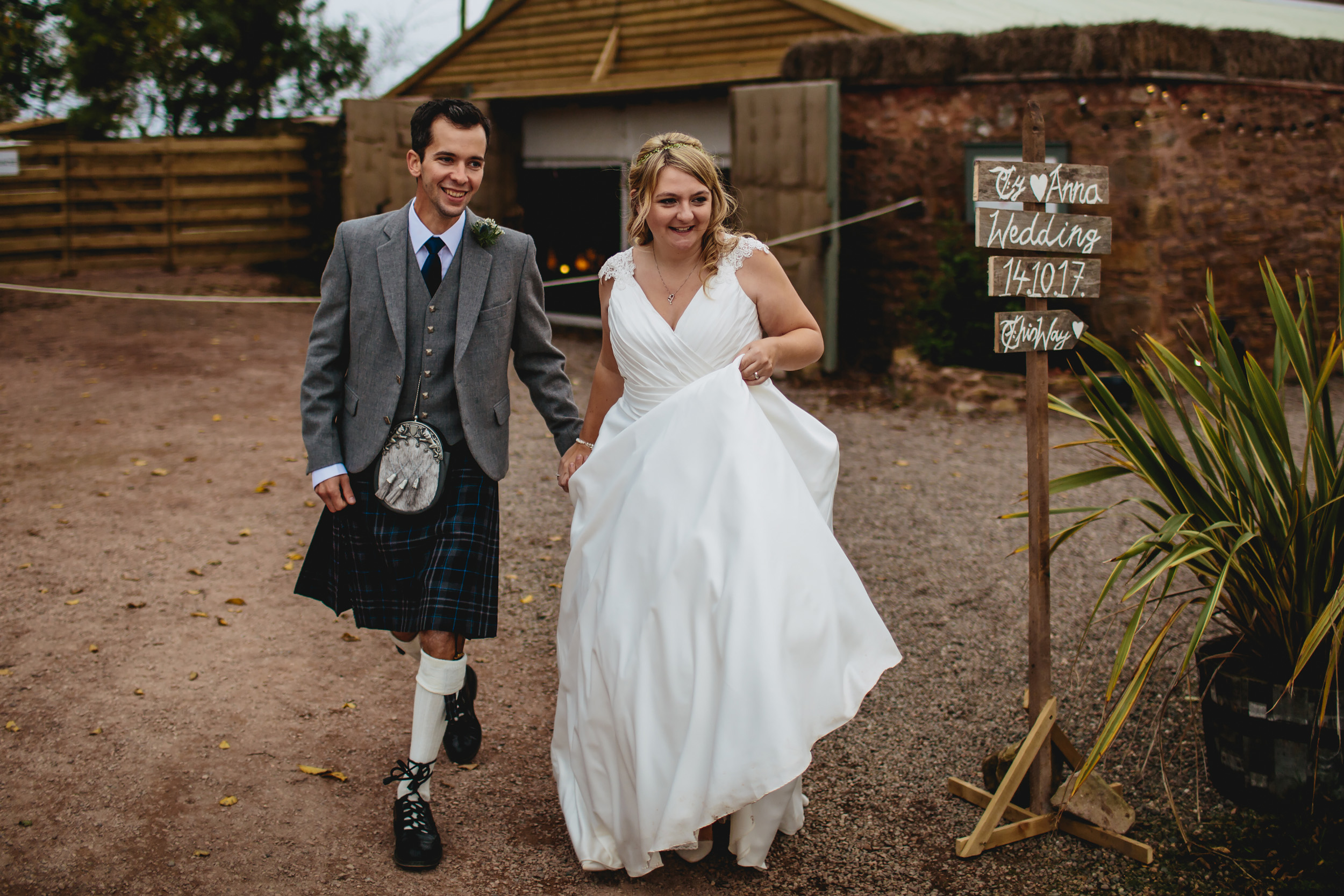 Bride and groom on their wedding day at Cow Shed Crail