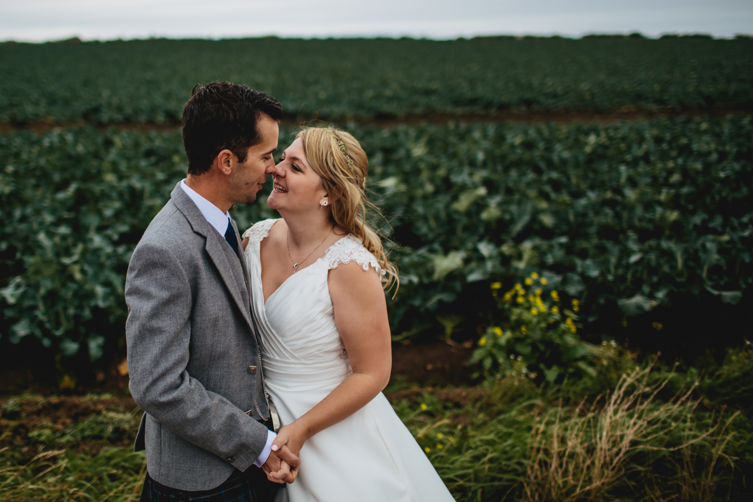 Bride and groom portrait at Cow Shed Crail wedding