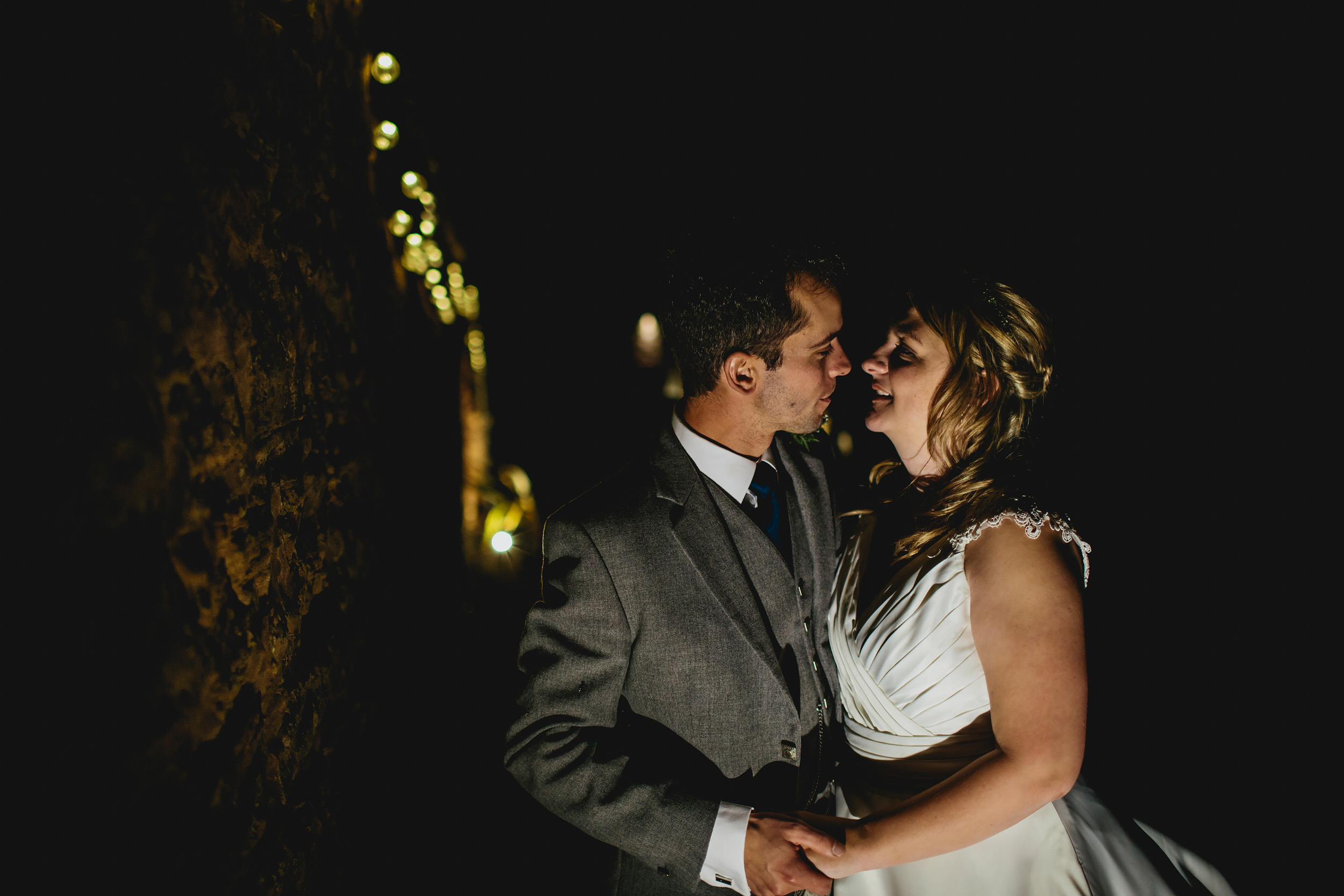 Night portrait at Cow Shed Crail wedding
