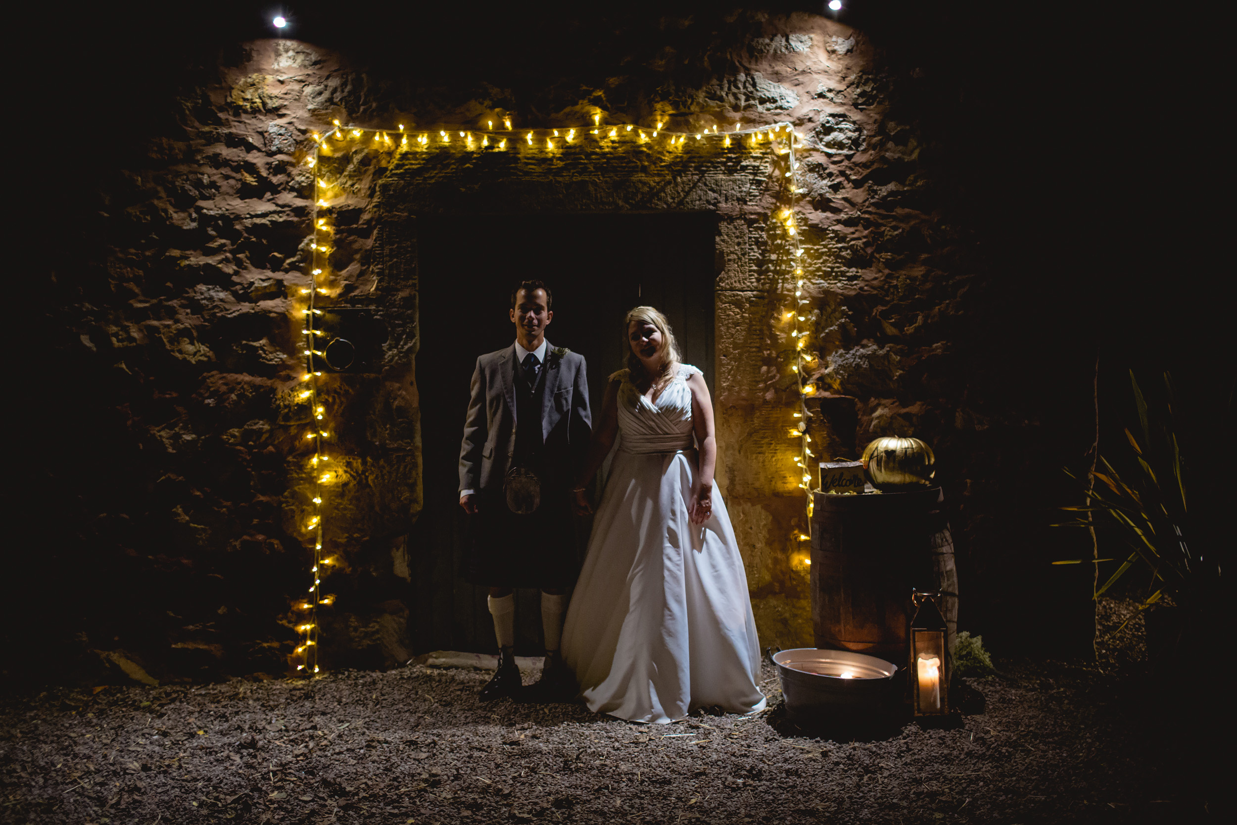 Bride and groom at Cow Shed Crail wedding