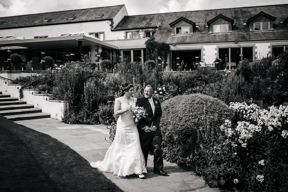 Bride and father at a Gibbon Bridge Hotel Lancashire wedding