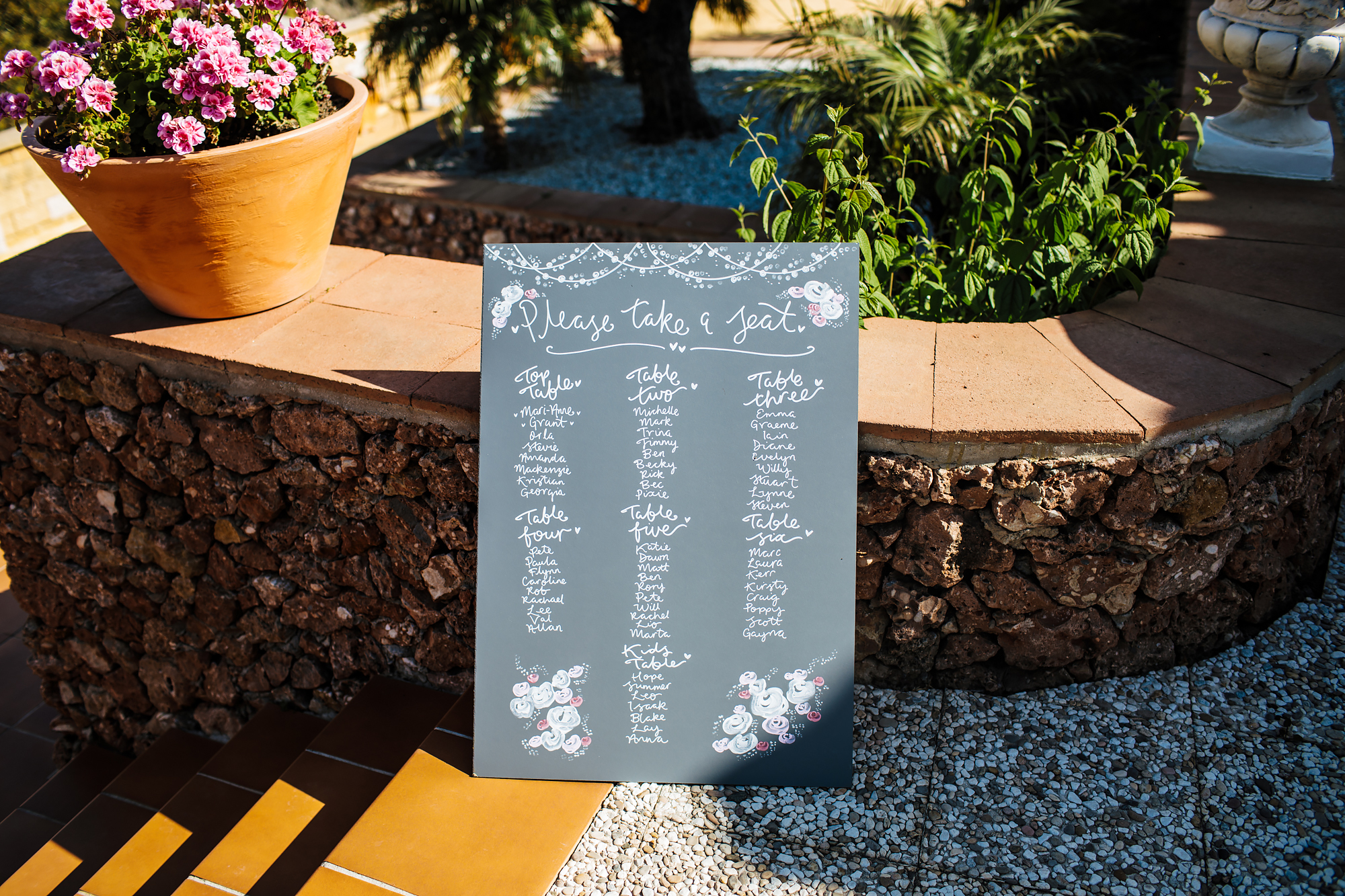 Seating plan at a wedding in Nerja Spain