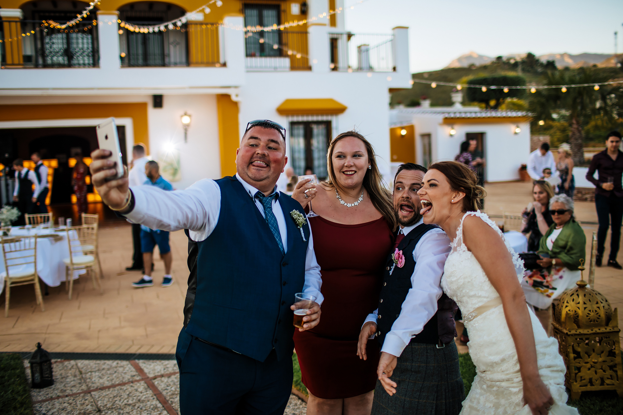 Wedding guests taking a selfie at Cortijo Maria Luisa Nerja Spain