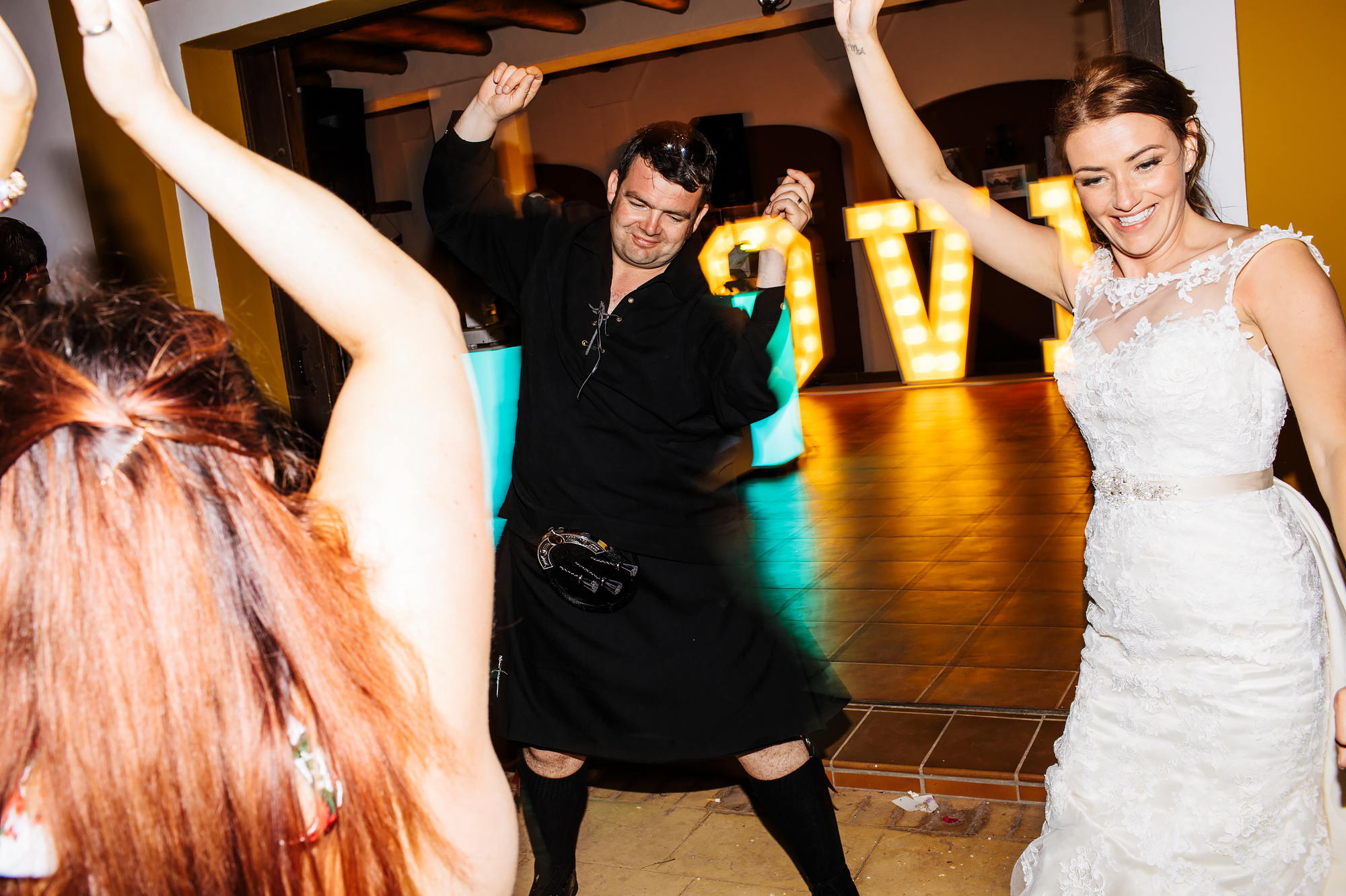 Wedding guests dancing in Costa Del Sol Spain