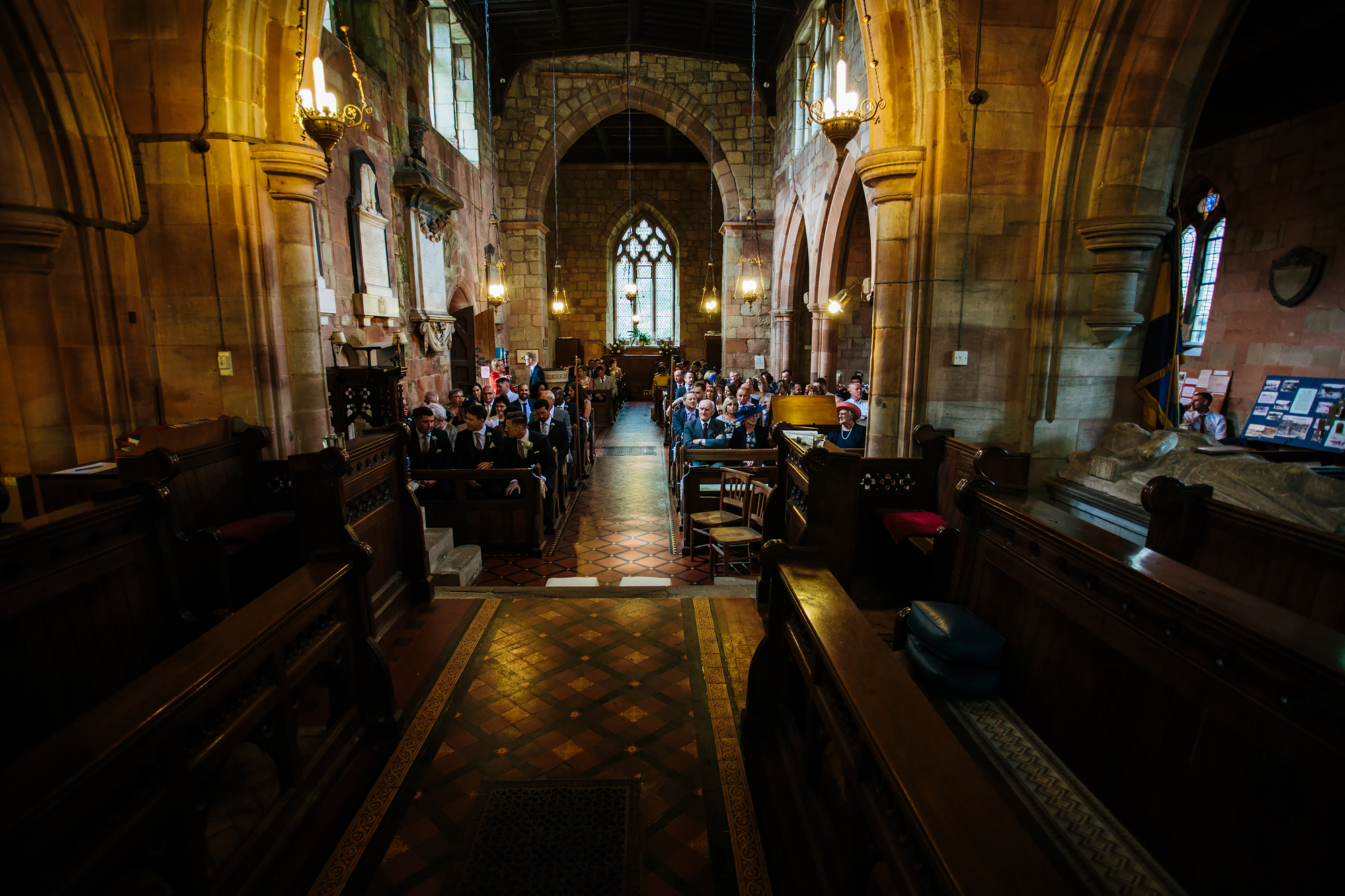 Guests at a church wedding in Shropshire