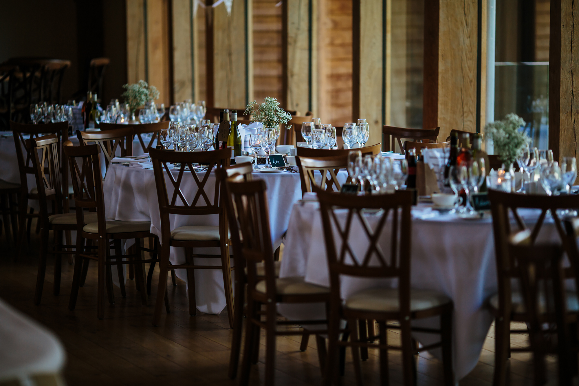 Wedding breakfast set up at Mill Barns Wedding Venue Shropshire