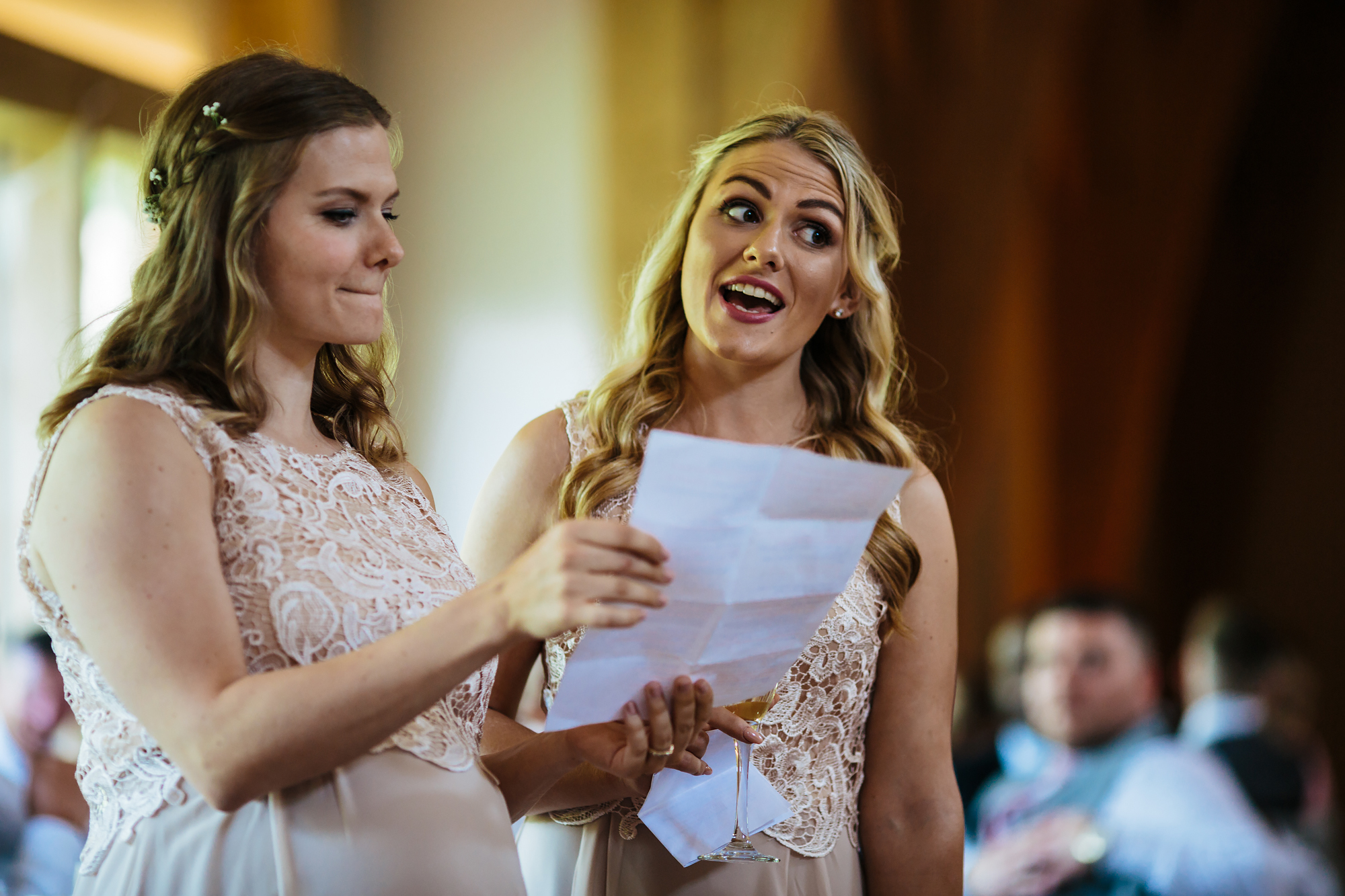 Singing bridesmaids at a wedding emotional