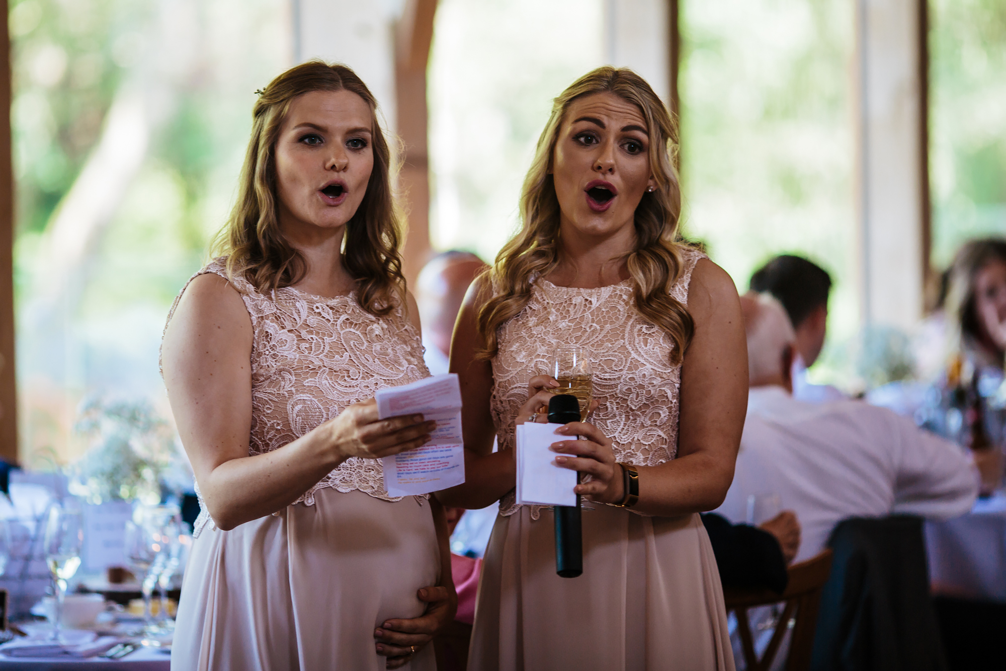 Singing bridesmaids at a wedding in Shropshire