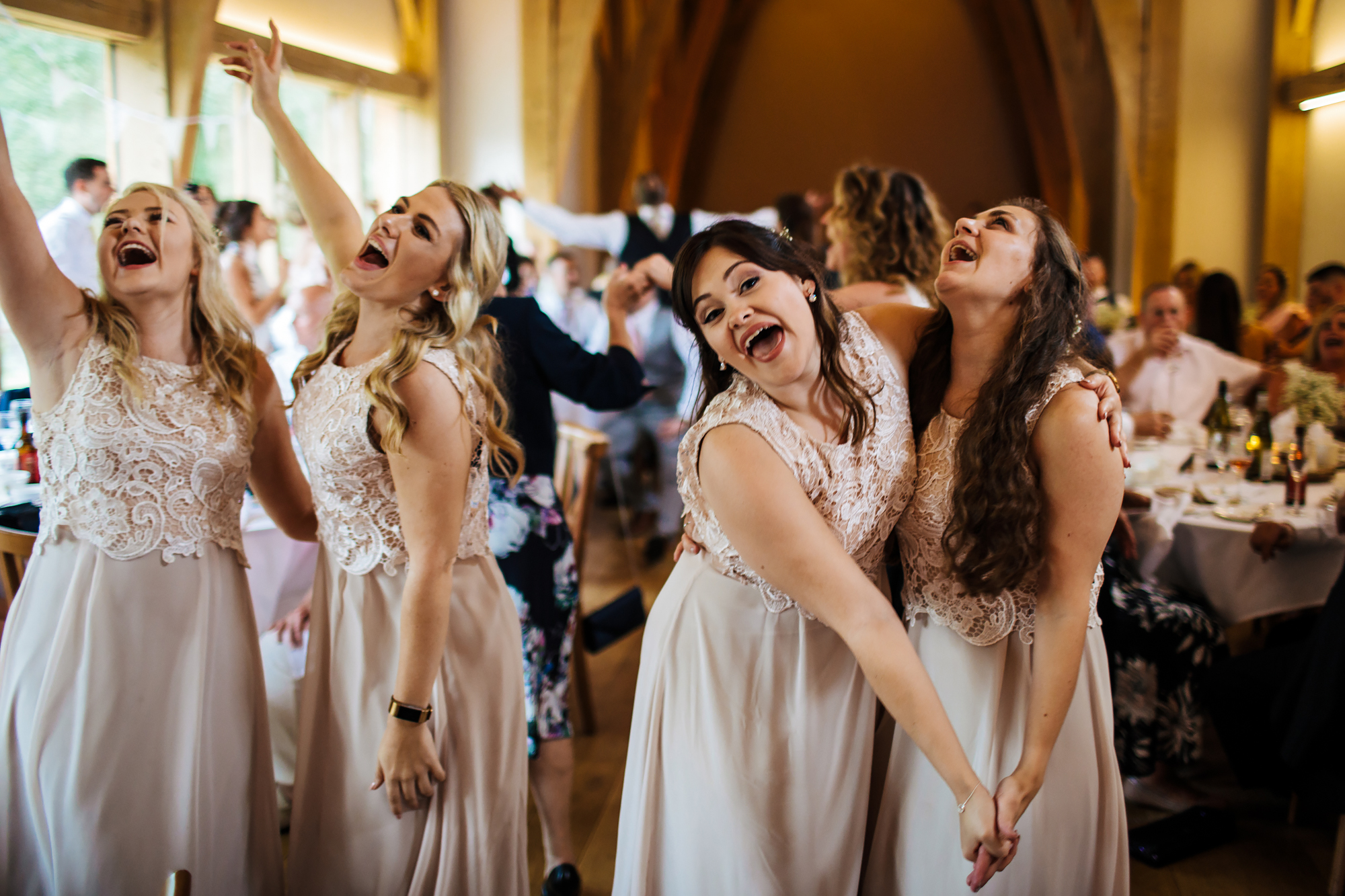 Dancing bridesmaids at Mill Barns Wedding Venue Shropshire
