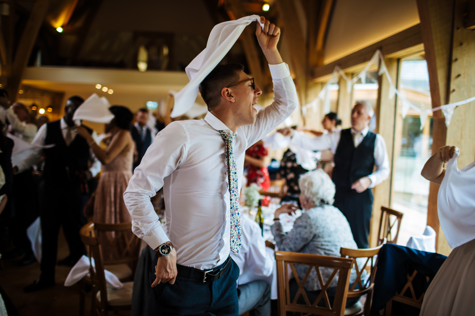 Swinging napkins at Mill Barns Wedding Venue Shropshire
