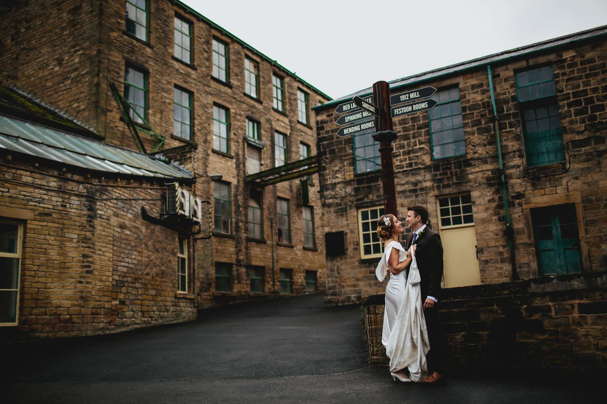 Yorkshire mill wedding with bride and groom