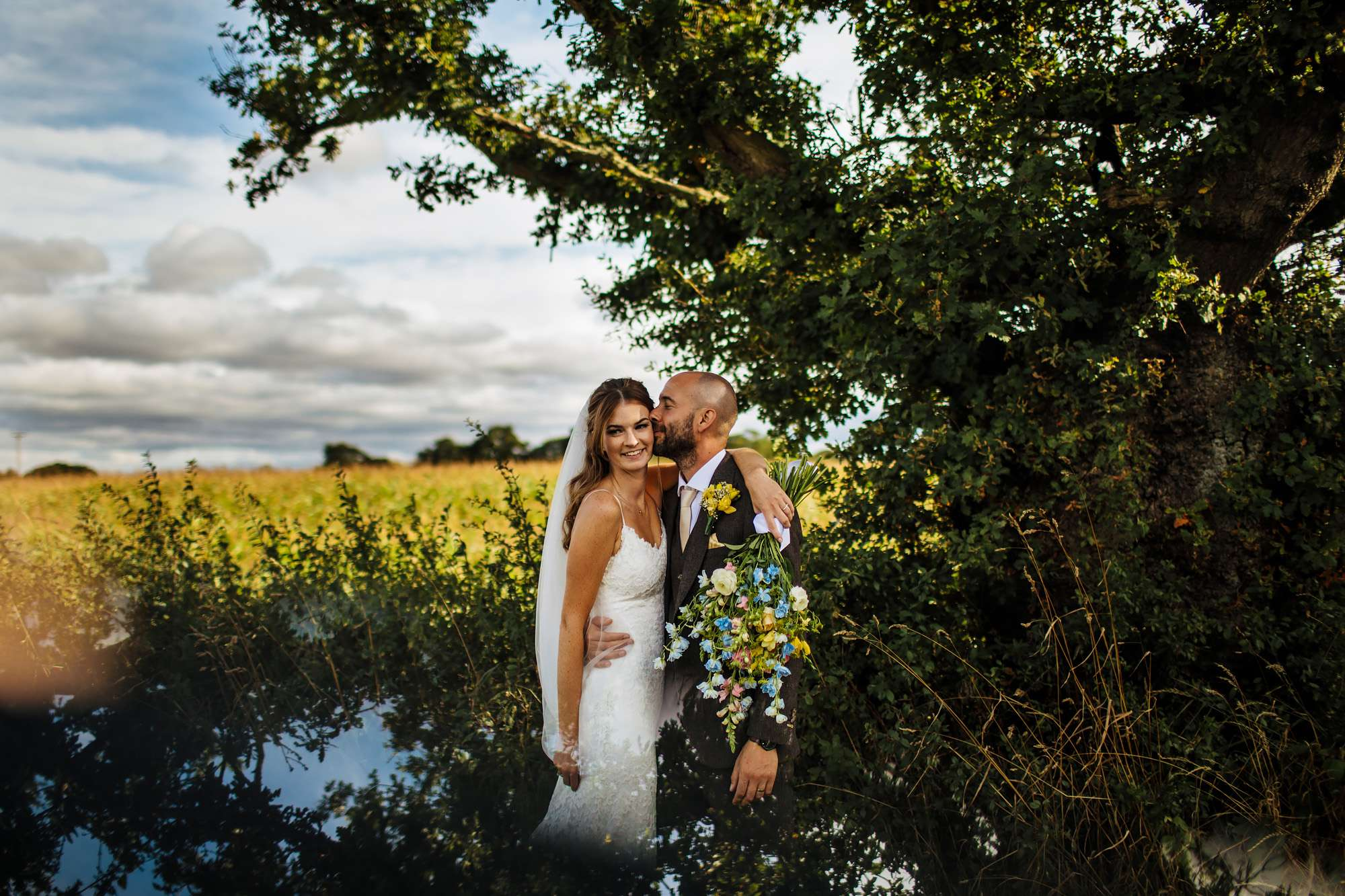 Couple portrait at a summer wedding in Yorkshire