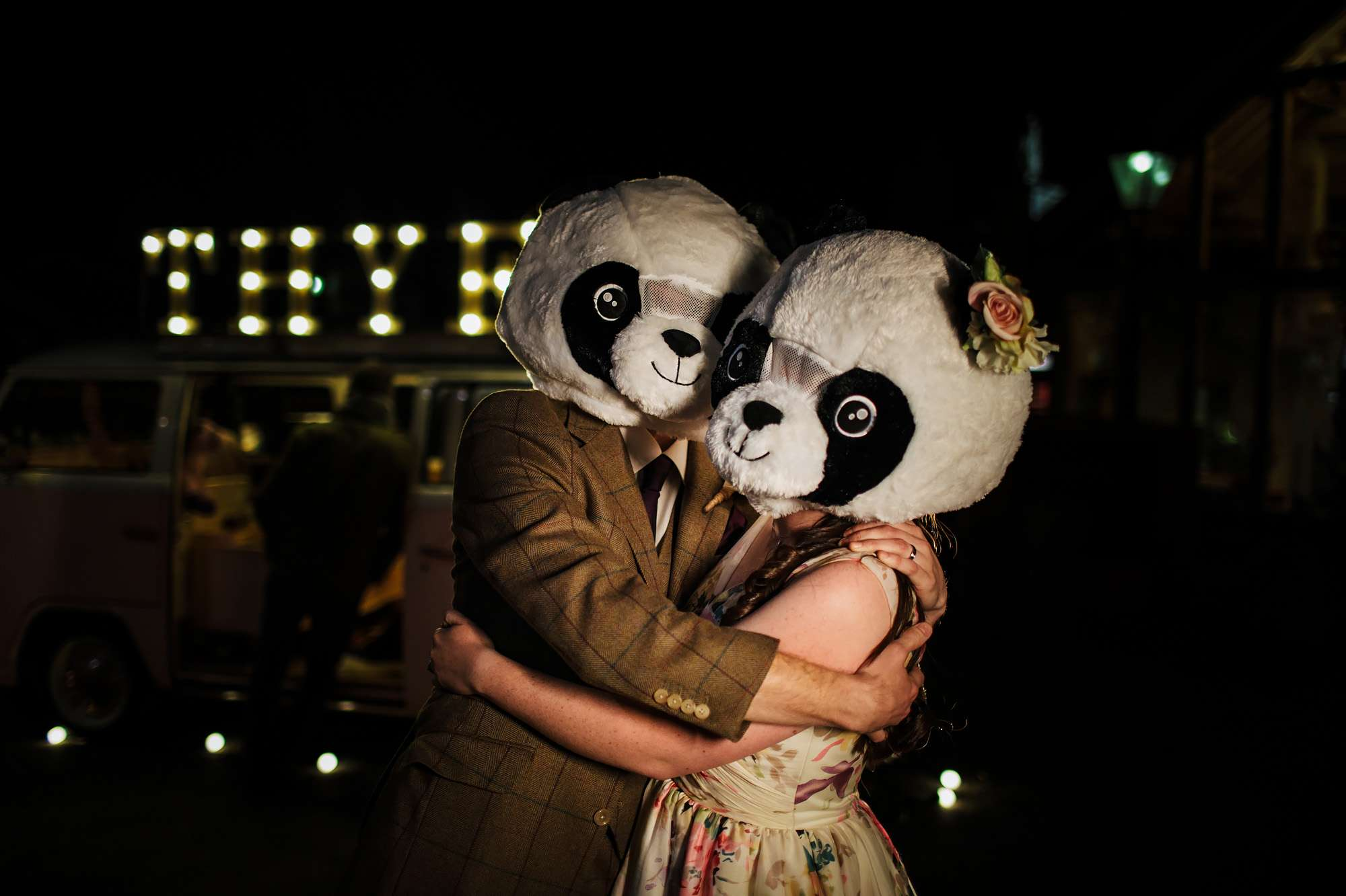 Bride and Groom with panda head in Yorkshire