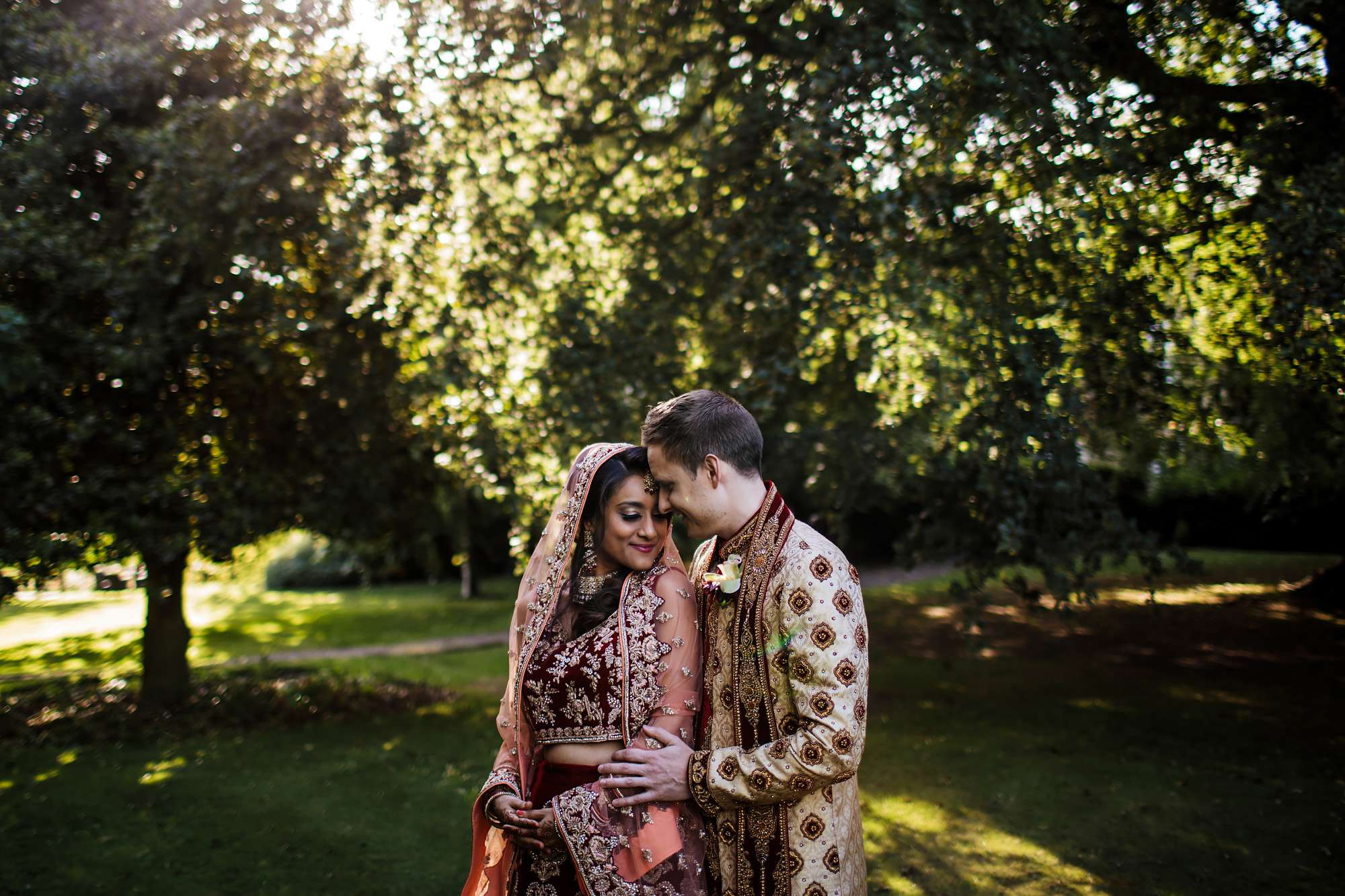 Gorgeous outdoor portrait at an Asian wedding in Yorkshire