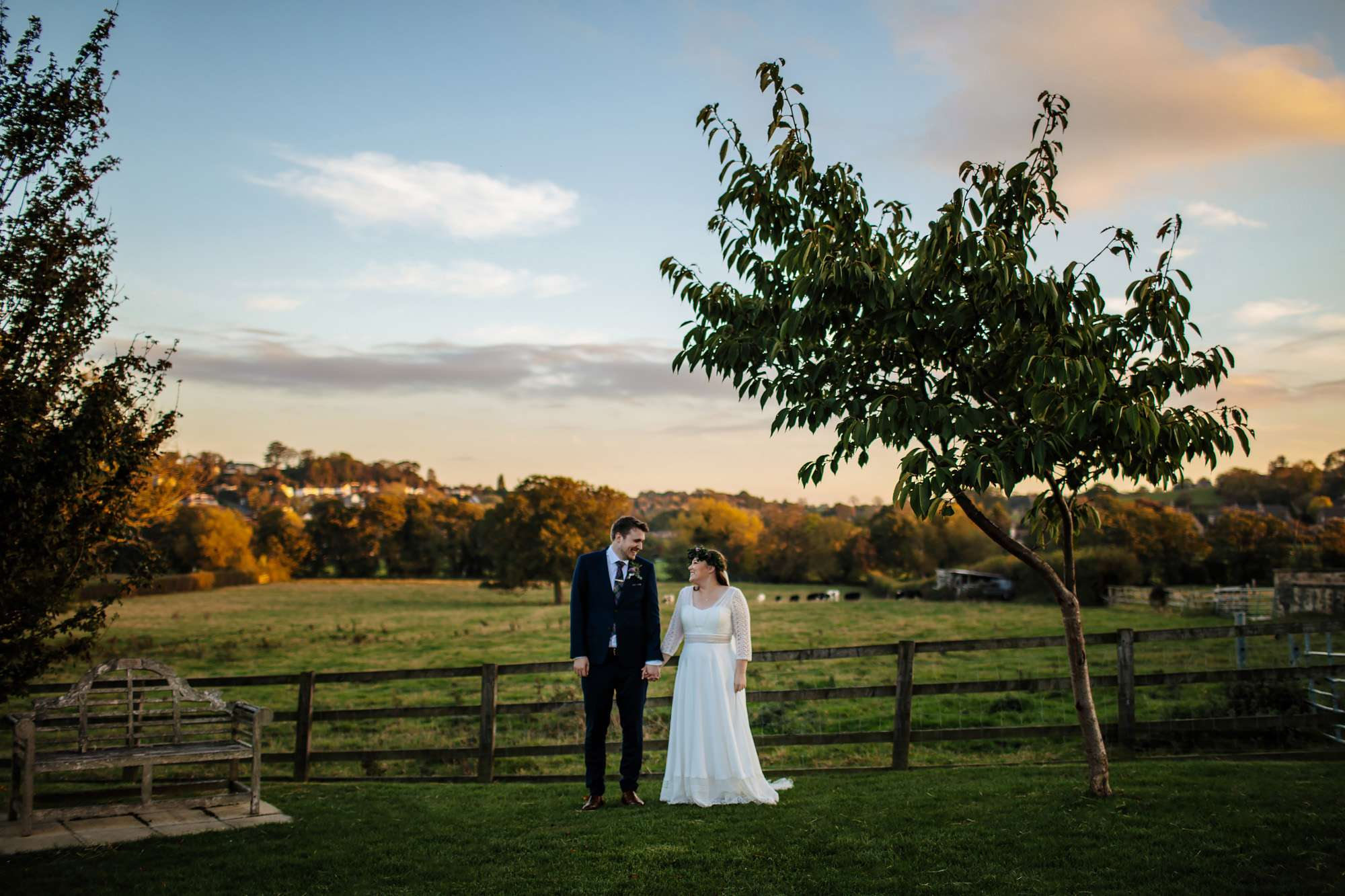 Sunset portrait of a bride and groom in Yorkshire