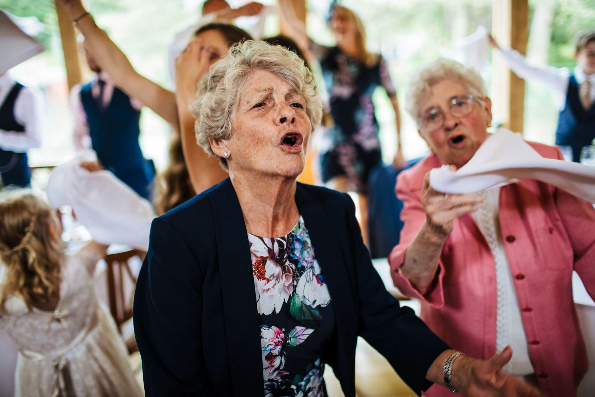 Granny singing at a wedding