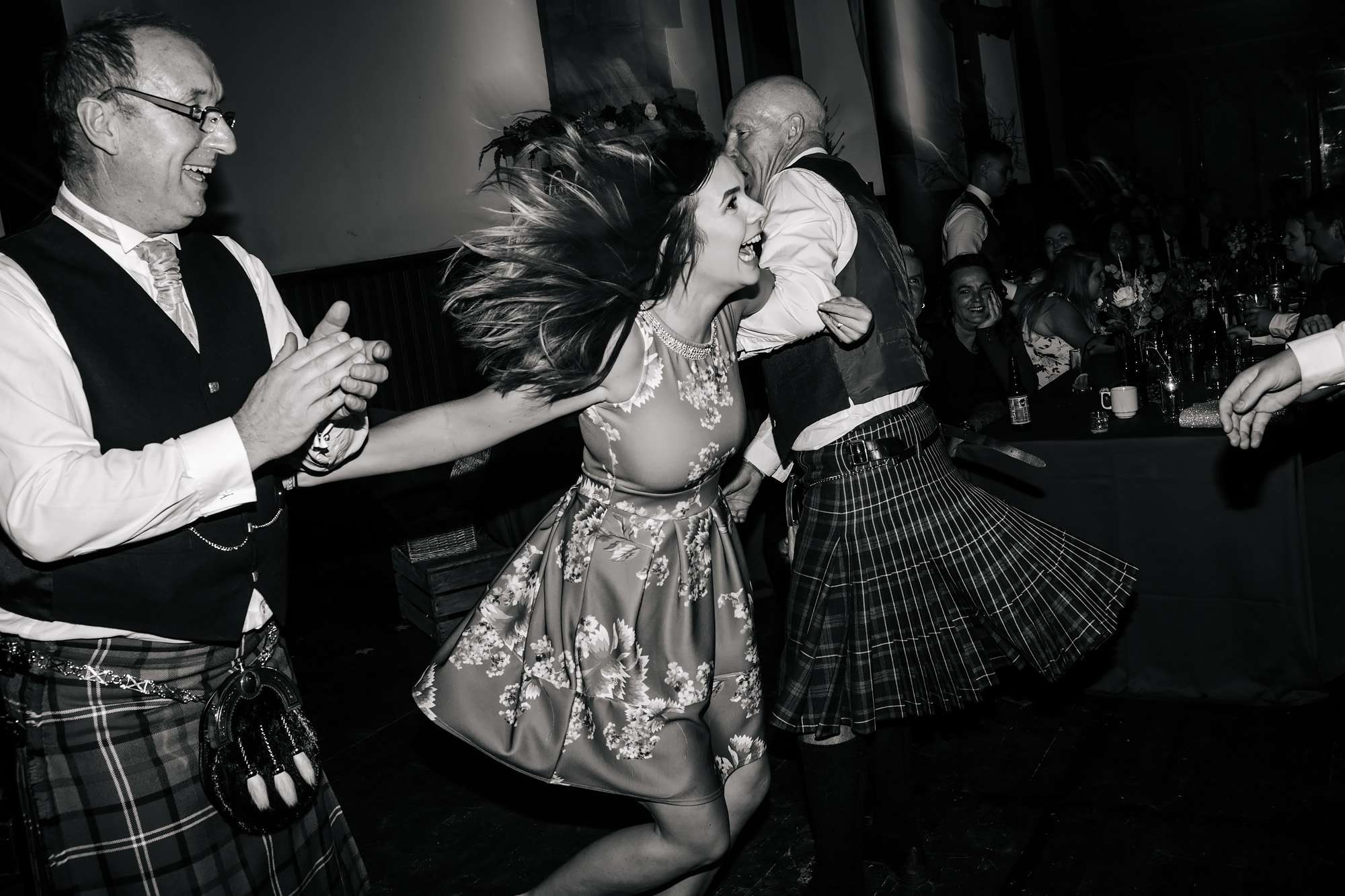 Ceilidh dancing at a wedding in Scotland