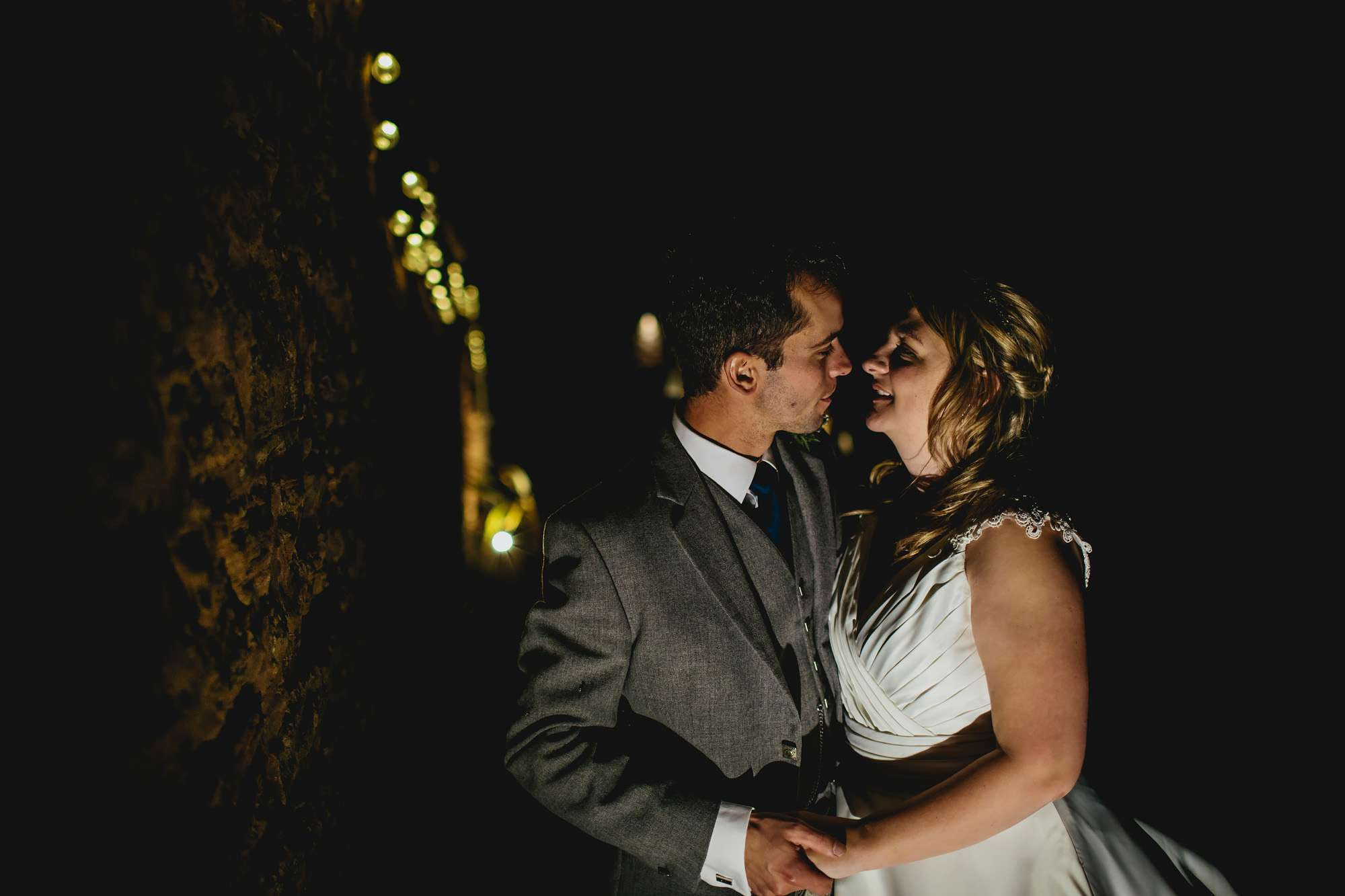 Night time couple portrait at a Scotland wedding