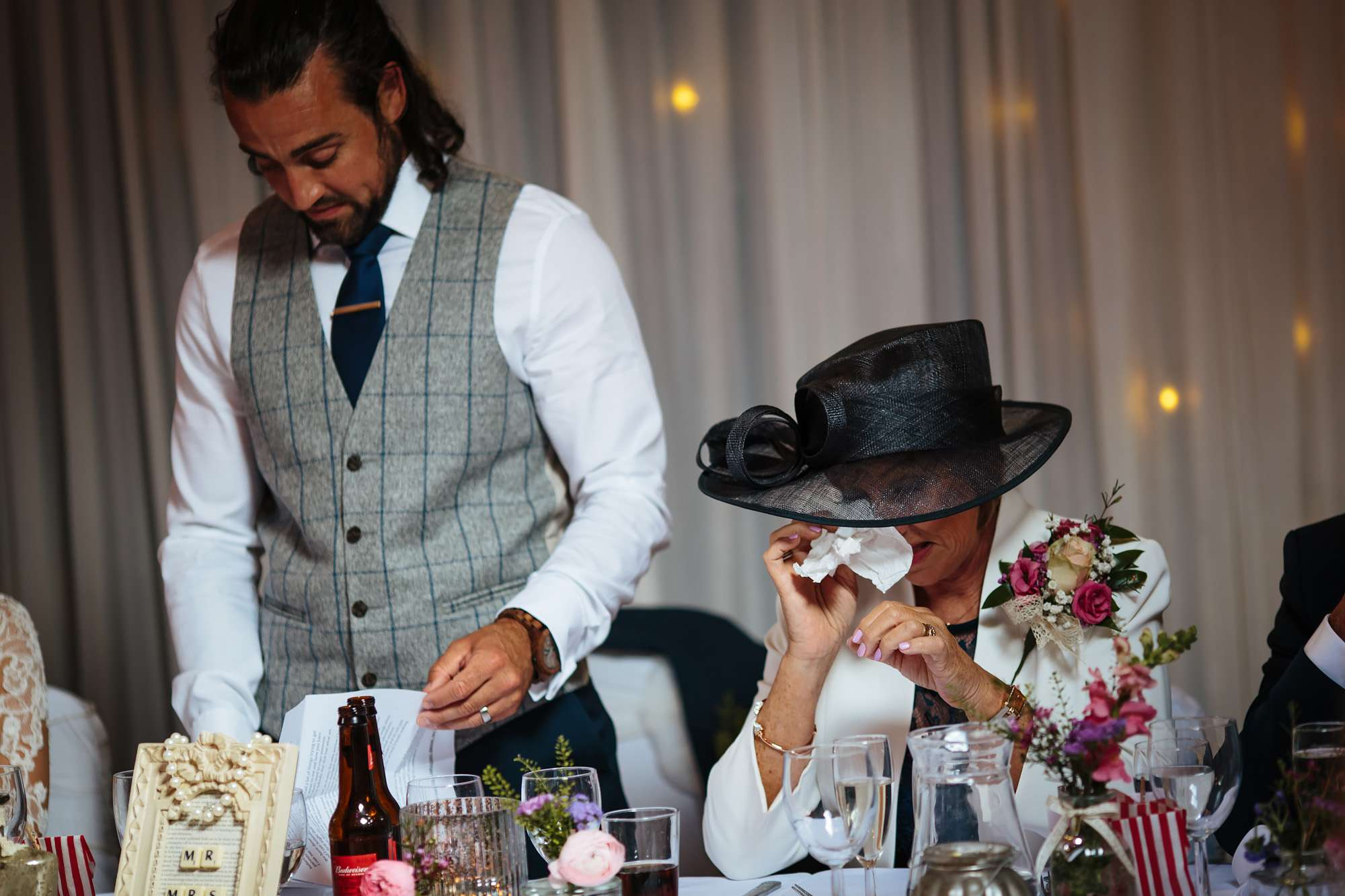 Grooms mum crying during the speeches at a wedding