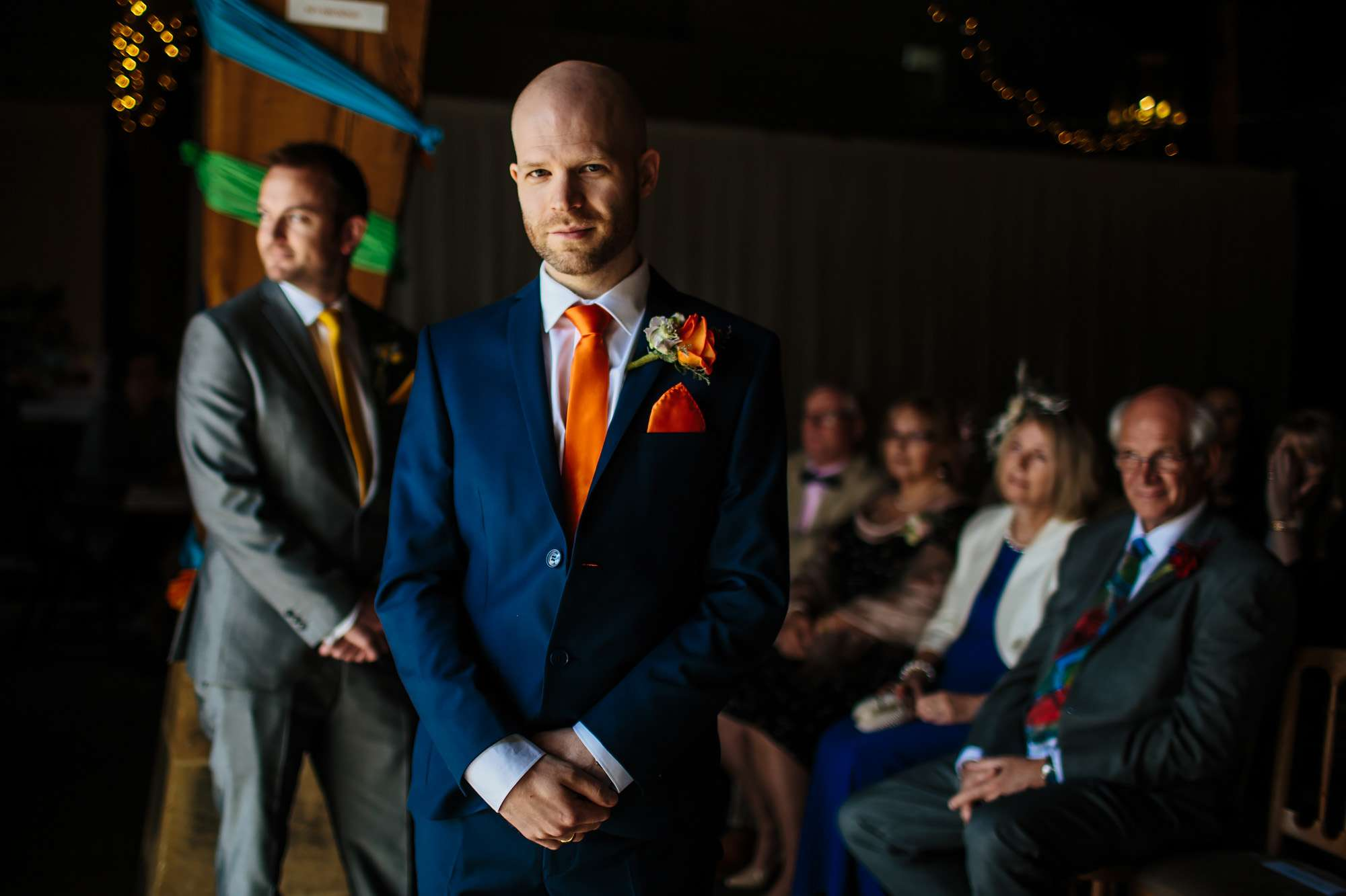 Groom awaiting his bride at a Yorkshire wedding