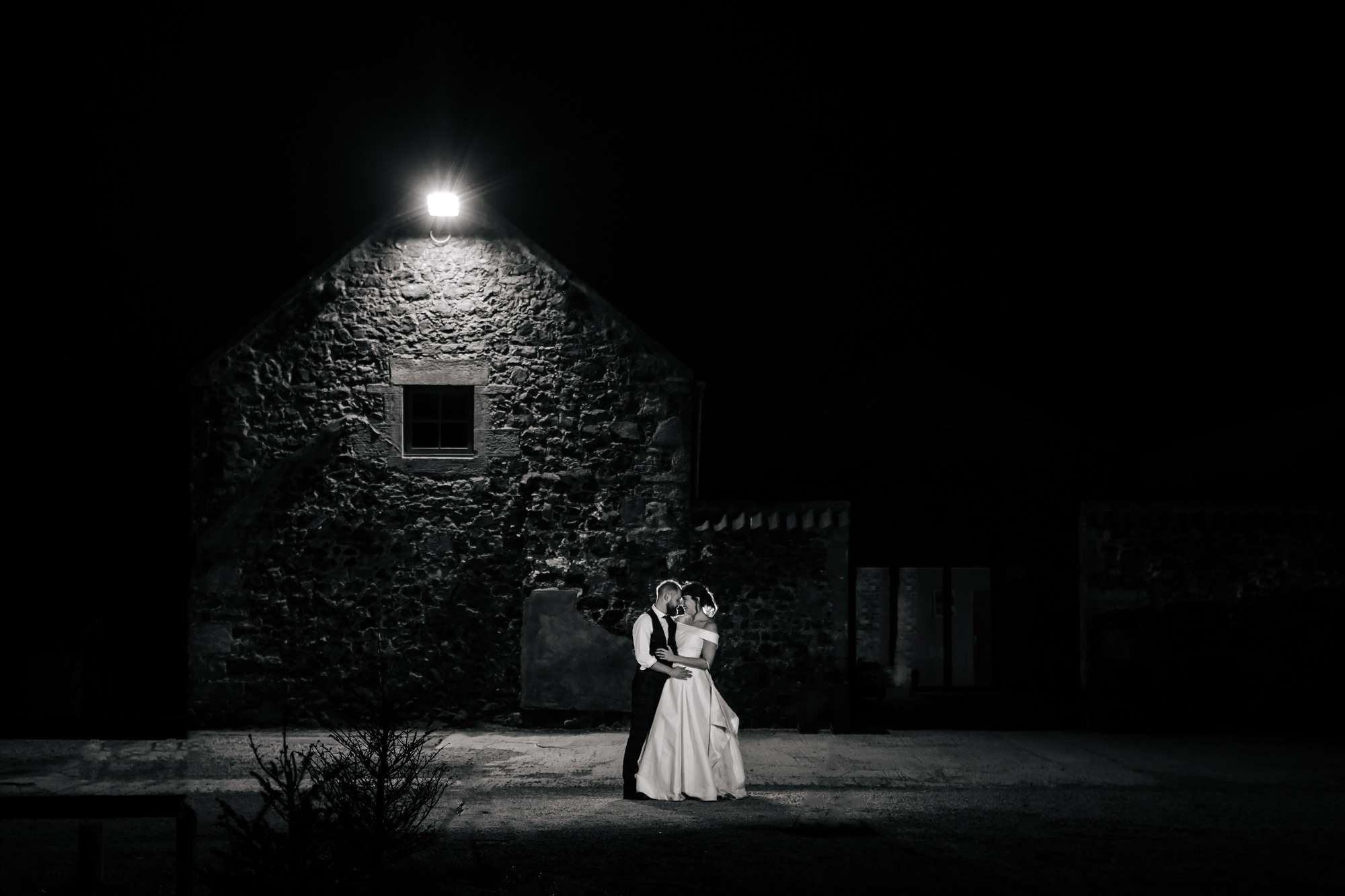 Bride and Groom in night portrait at a wedding