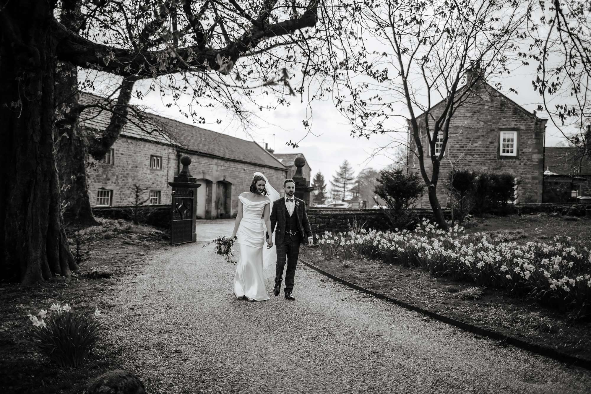 Black and white wedding portrait at Browsholme Hall
