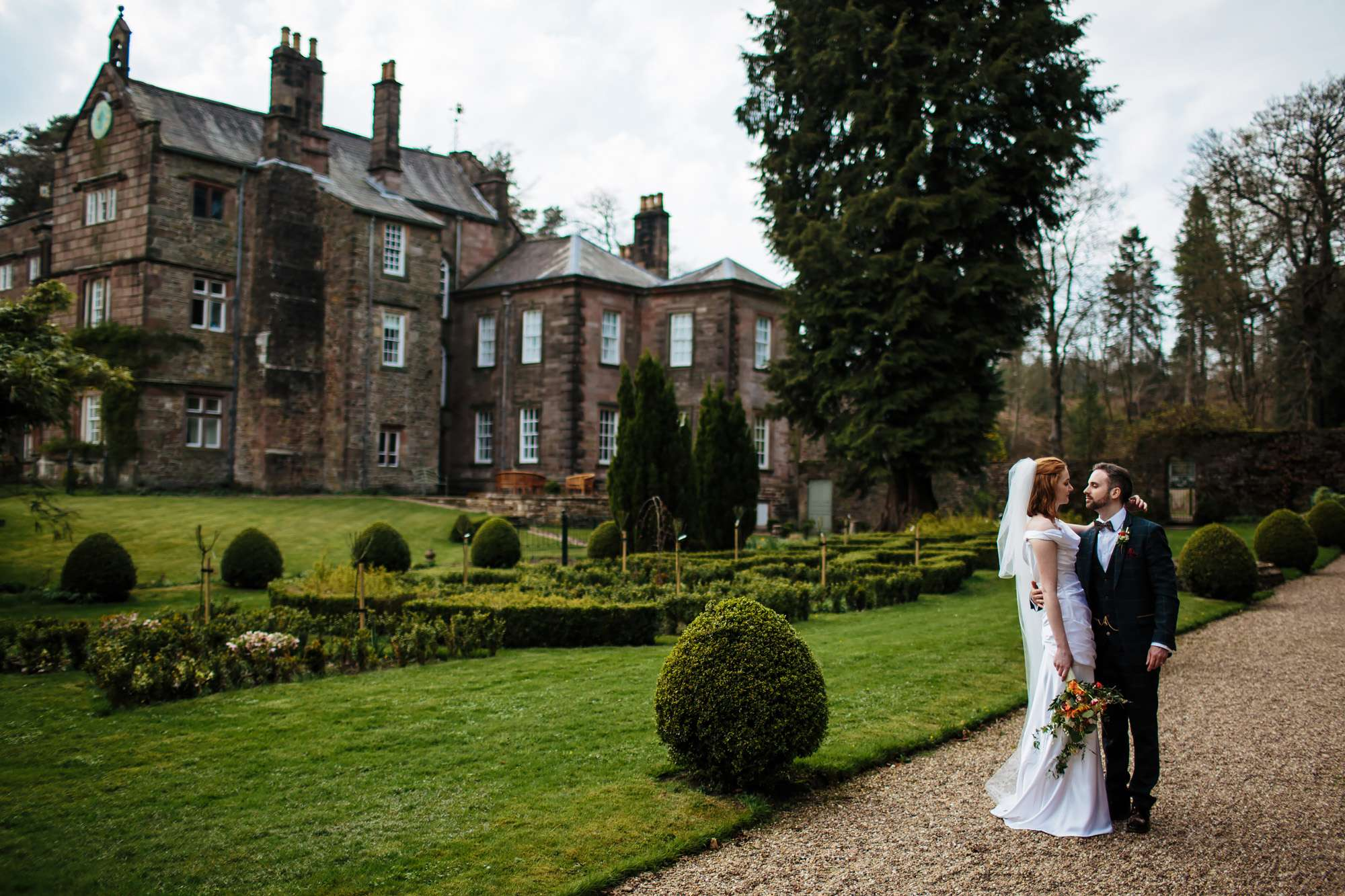 Portrait in the garden at a Browsholme Hall Wedding