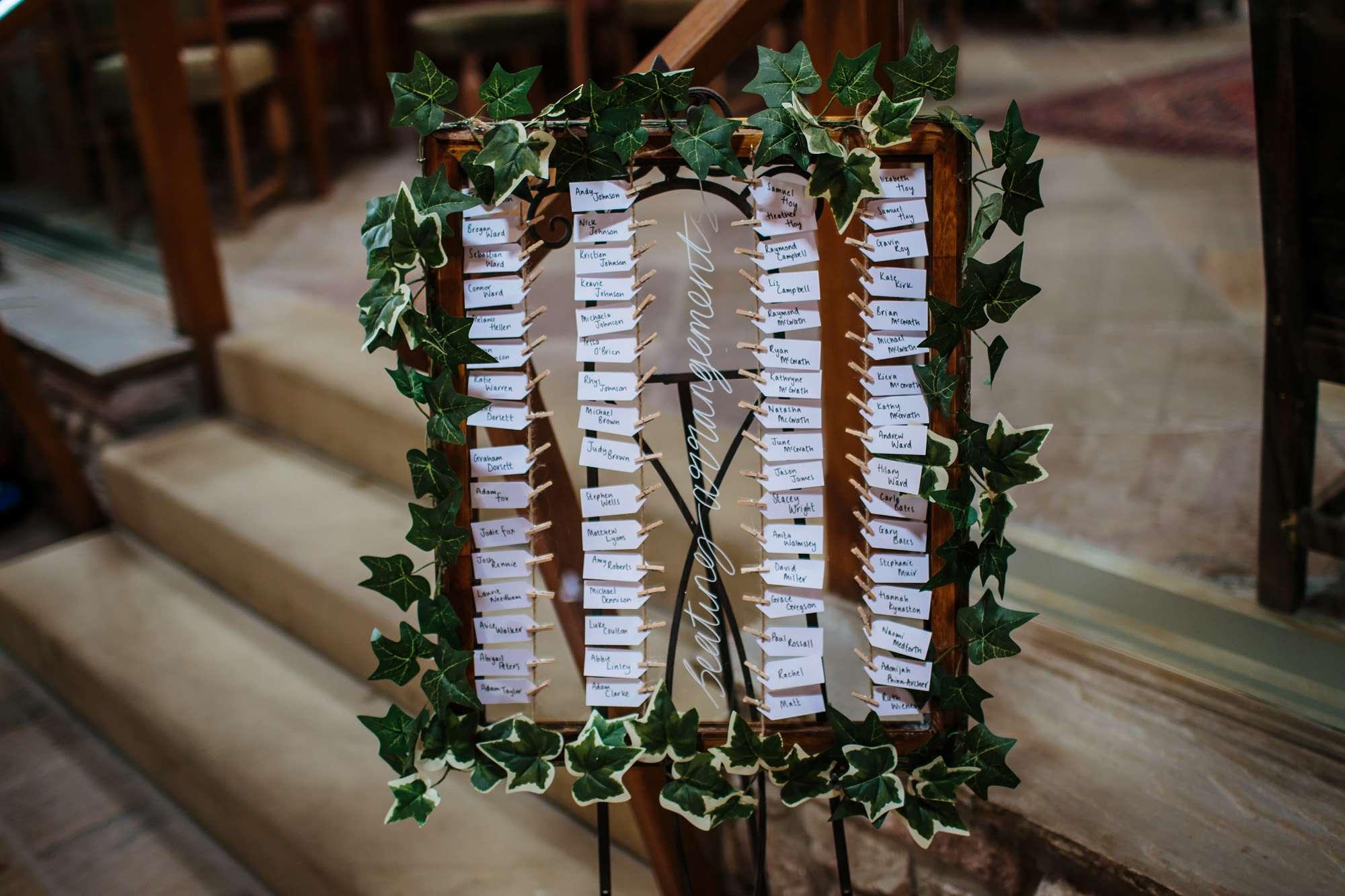 Table plan at a Browsholme Hall Wedding