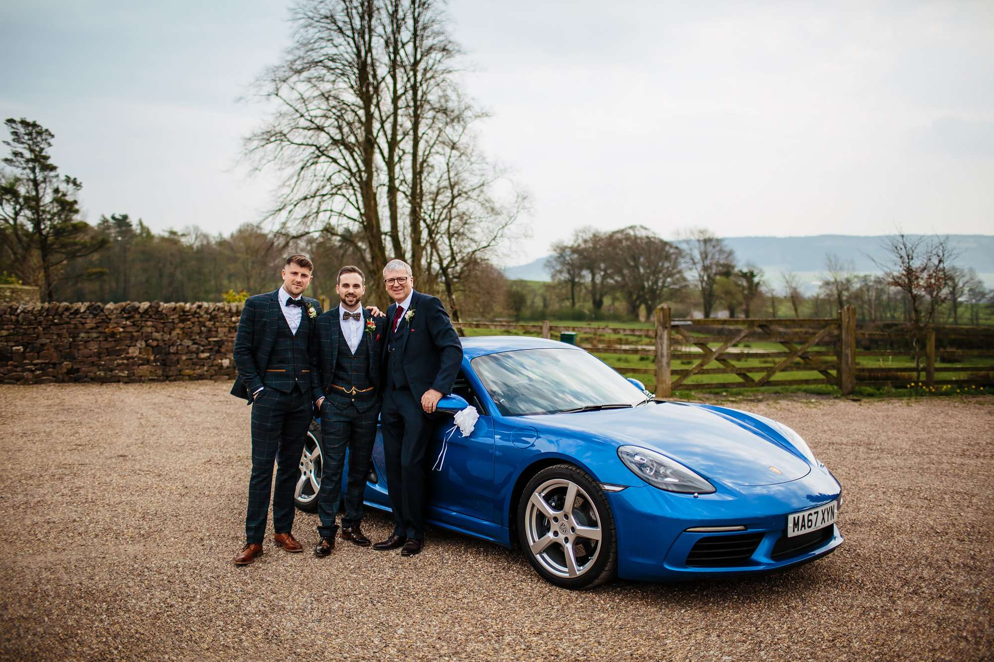 Groom with his Wedding car in Lancashire