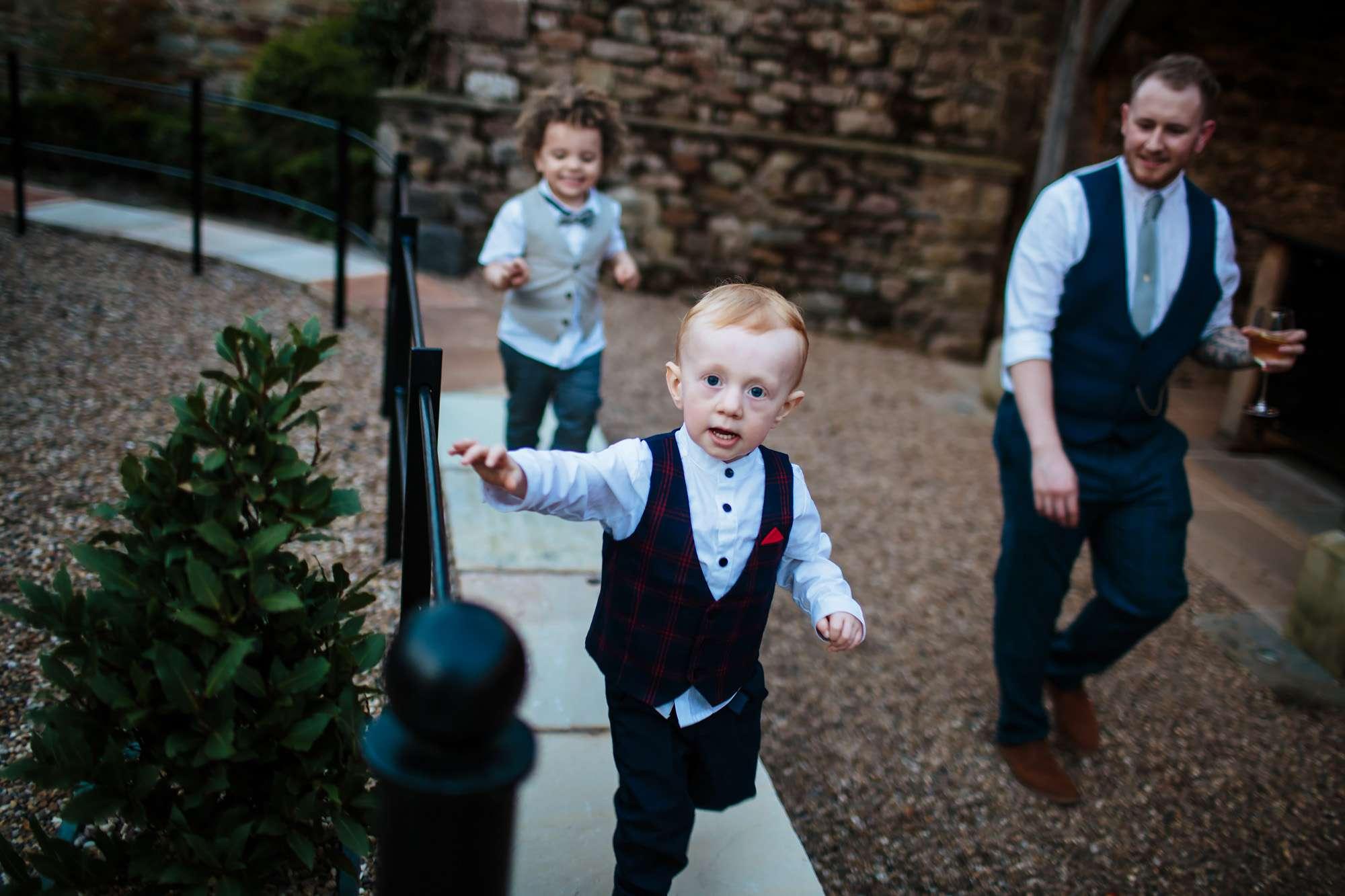 Toddlers having fun at a Lancashire wedding