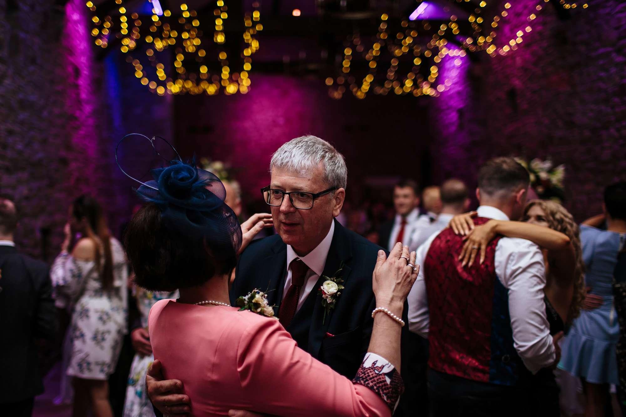 Wedding guests dancing at a Lancashire wedding