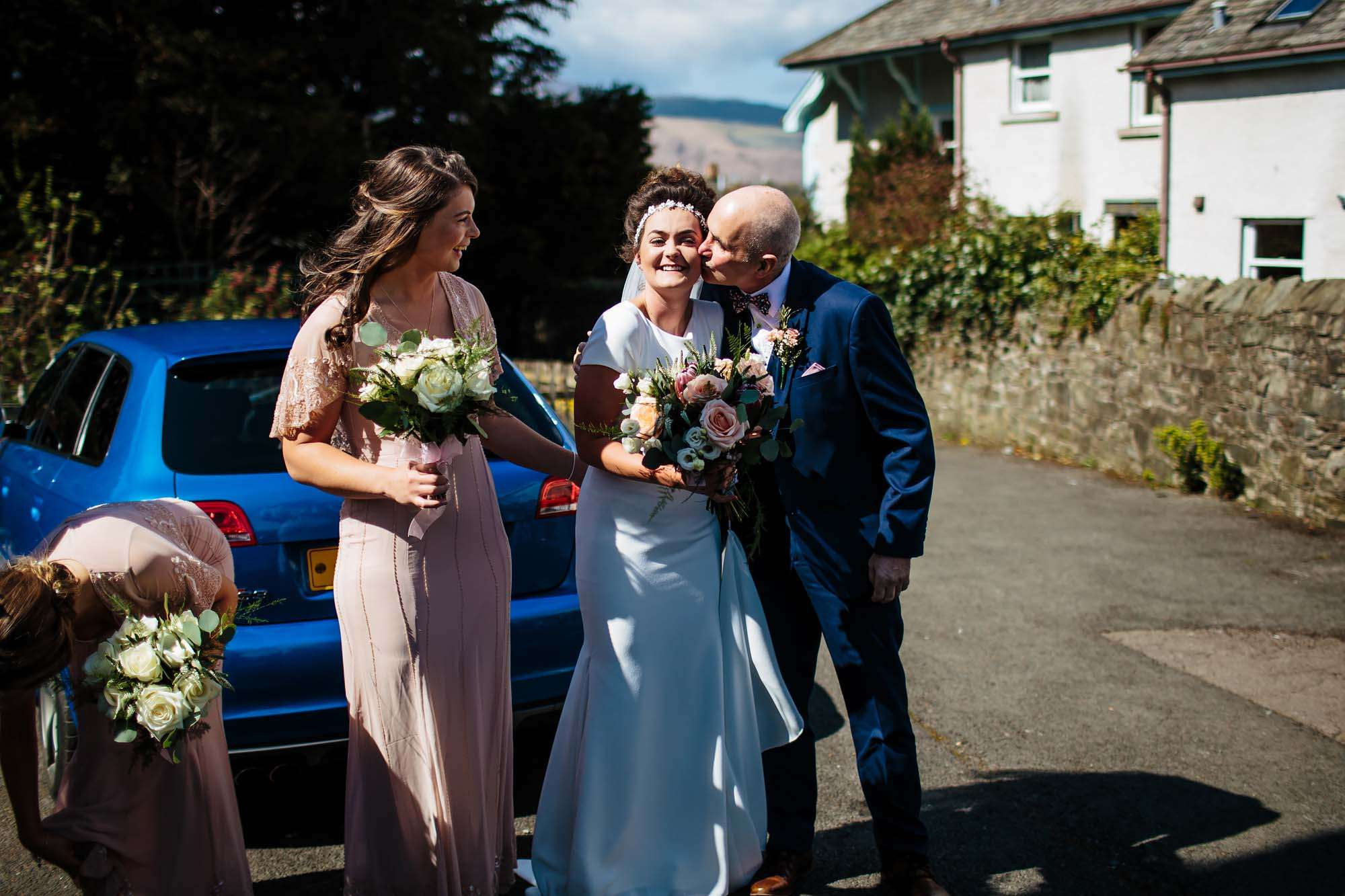 Bride and dad before her Lake District wedding