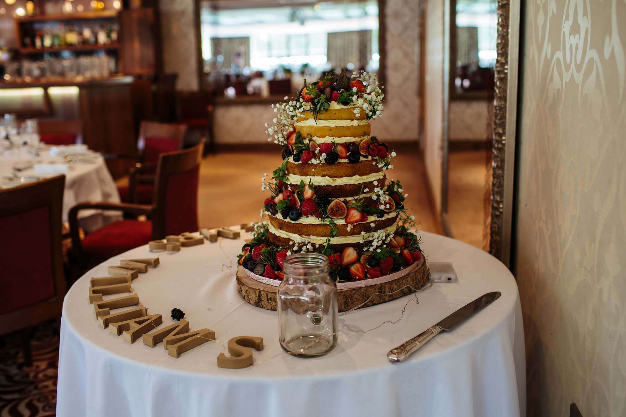 Wedding cake with fruit at Armathwaite Hall