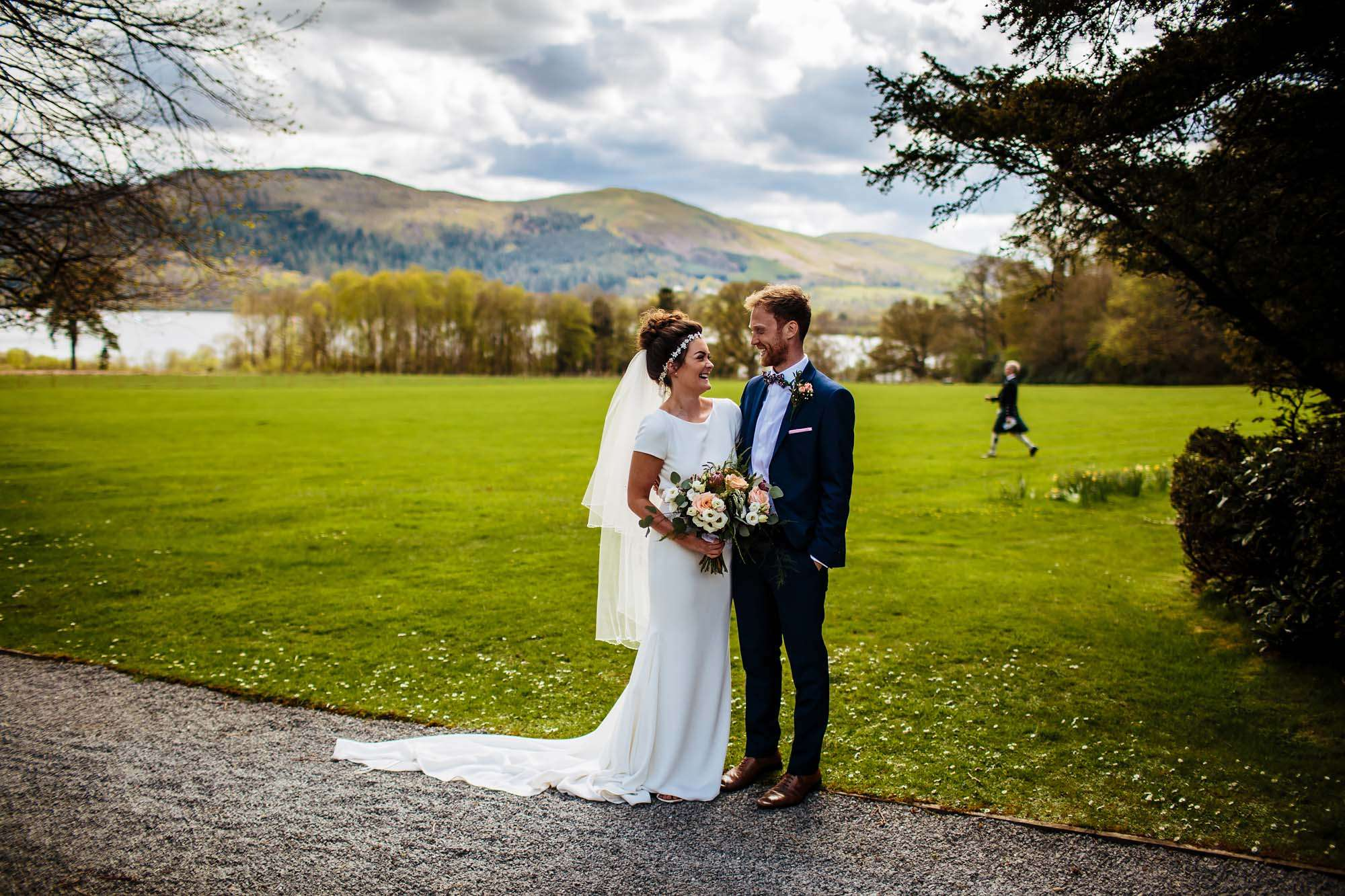 Bride and groom portrait in the Lake District