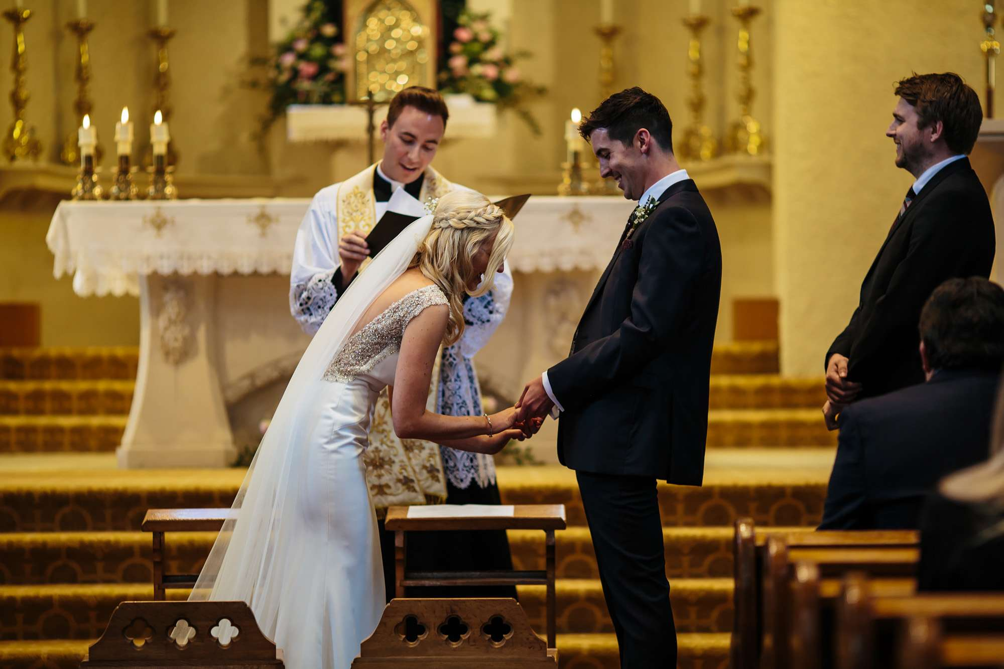 Bride and groom at their church wedding ceremony in Leeds