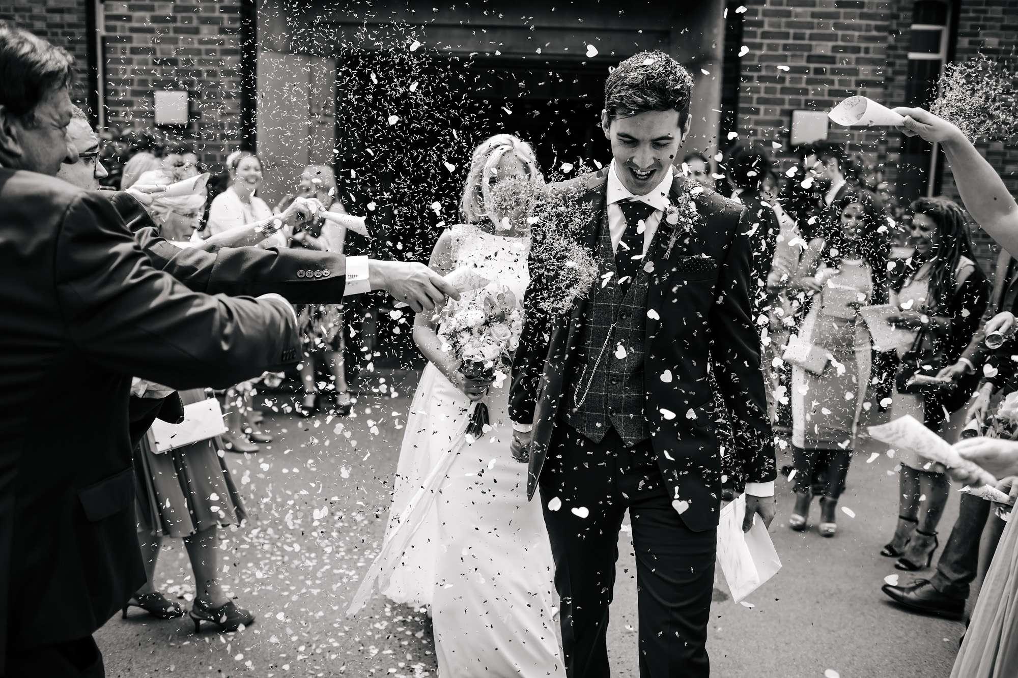 Confetti throw at a Leeds Wedding